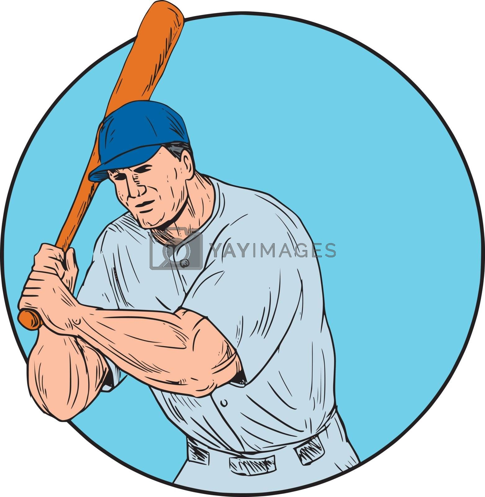 Drawing sketch style illustration of an american baseball player batter hitter holding bat viewed from front set inside circle.