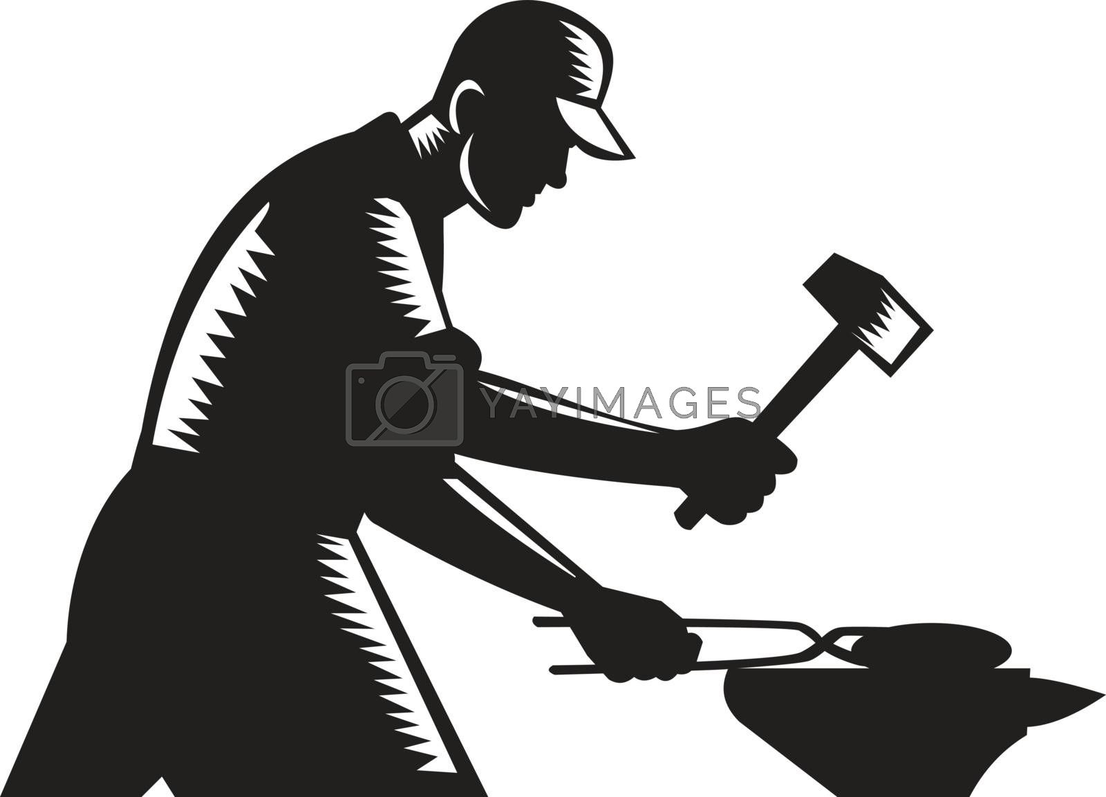 Black and white illustration of a blacksmith worker forging iron viewed from the side set on isolated white background done in retro woodcut style.