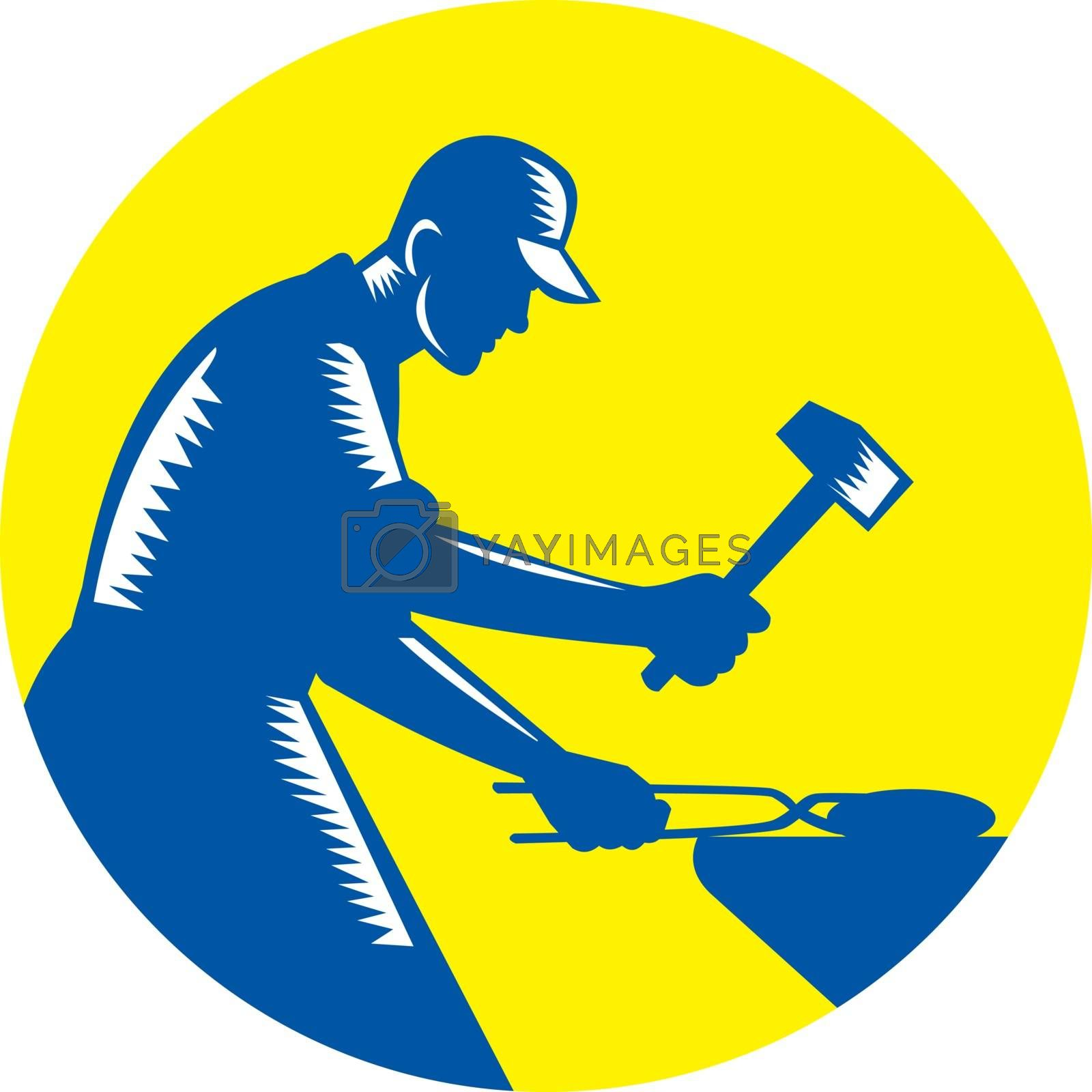 Illustration of a blacksmith worker forging iron viewed from the side set inside circle on isolated background done in retro woodcut style.