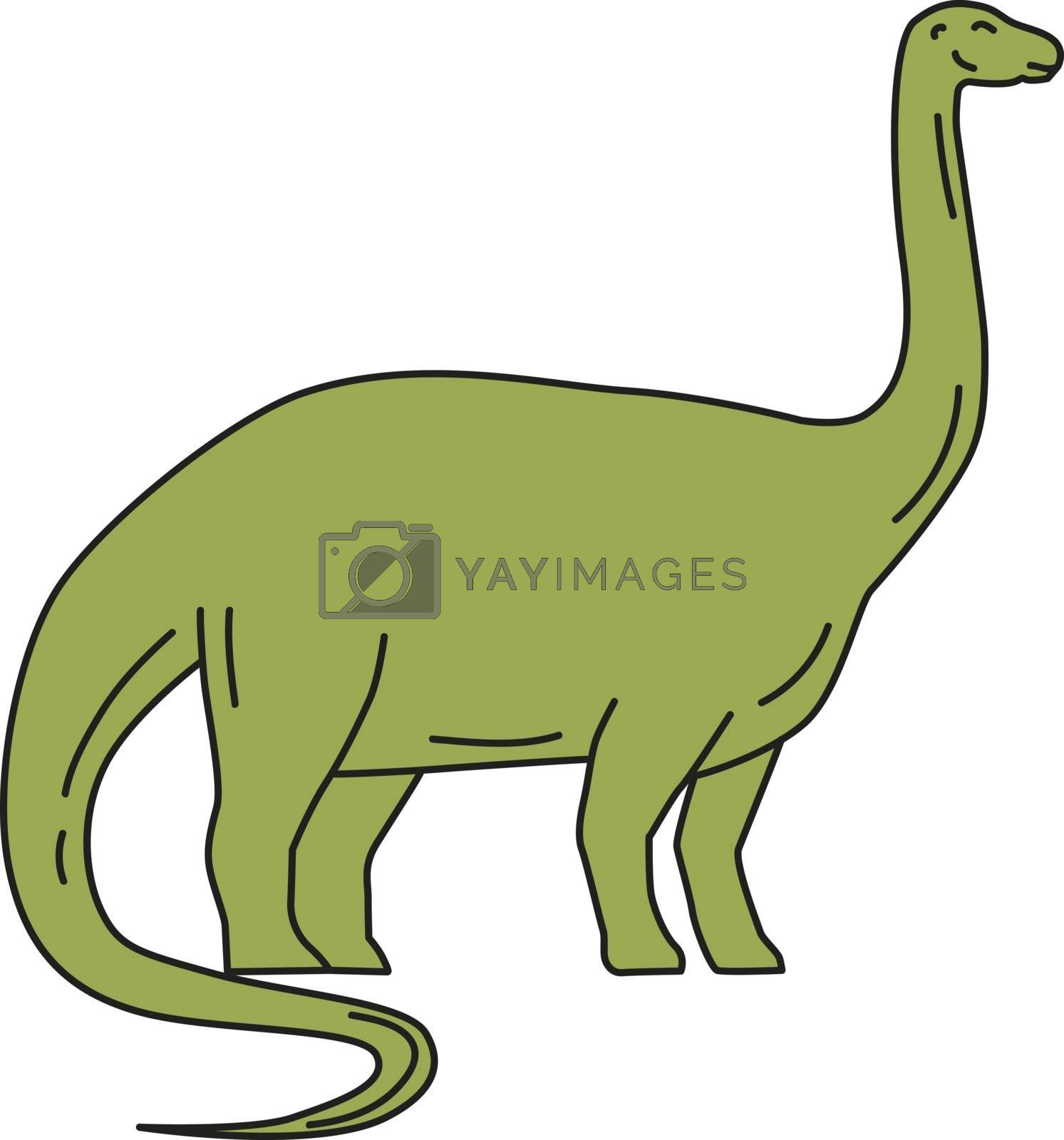 """Mono line style illustration of a Brontosaurus meaning """"thunder lizard, a genus of gigantic quadruped sauropod dinosaurs that lived in the late Jurrasic epoch viewed from the side set on isolated white background."""