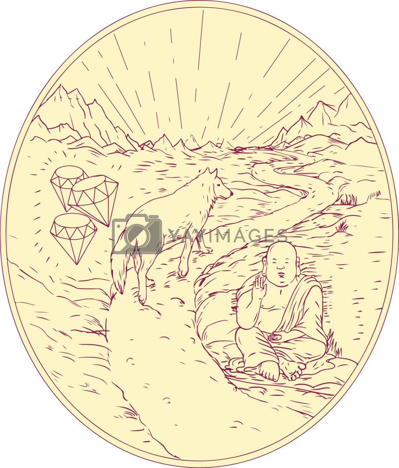 Drawing sketch style illustration of sitting Buddha and Wolf walking on Road with Diamond on one side and mountains in background.