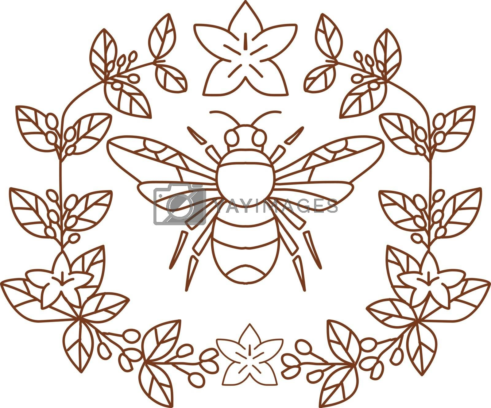 Icon style illustration of Bumblebee  member of genus Bombus, part of Apidae with open wing and framed with Coffee Flower floral Leaves on isolated background.