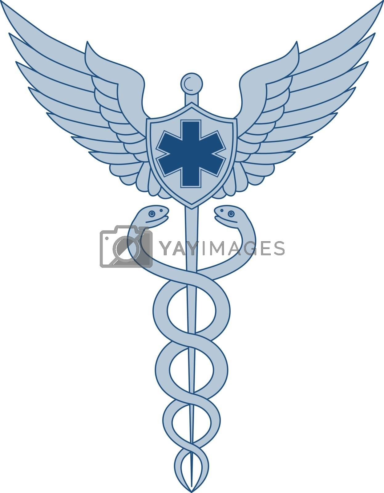 Icon style illustration of a Caduceus or Rod of Asclepius With two snakes winding around winged staff  and Pilot Wings and EMT Star on isolated background