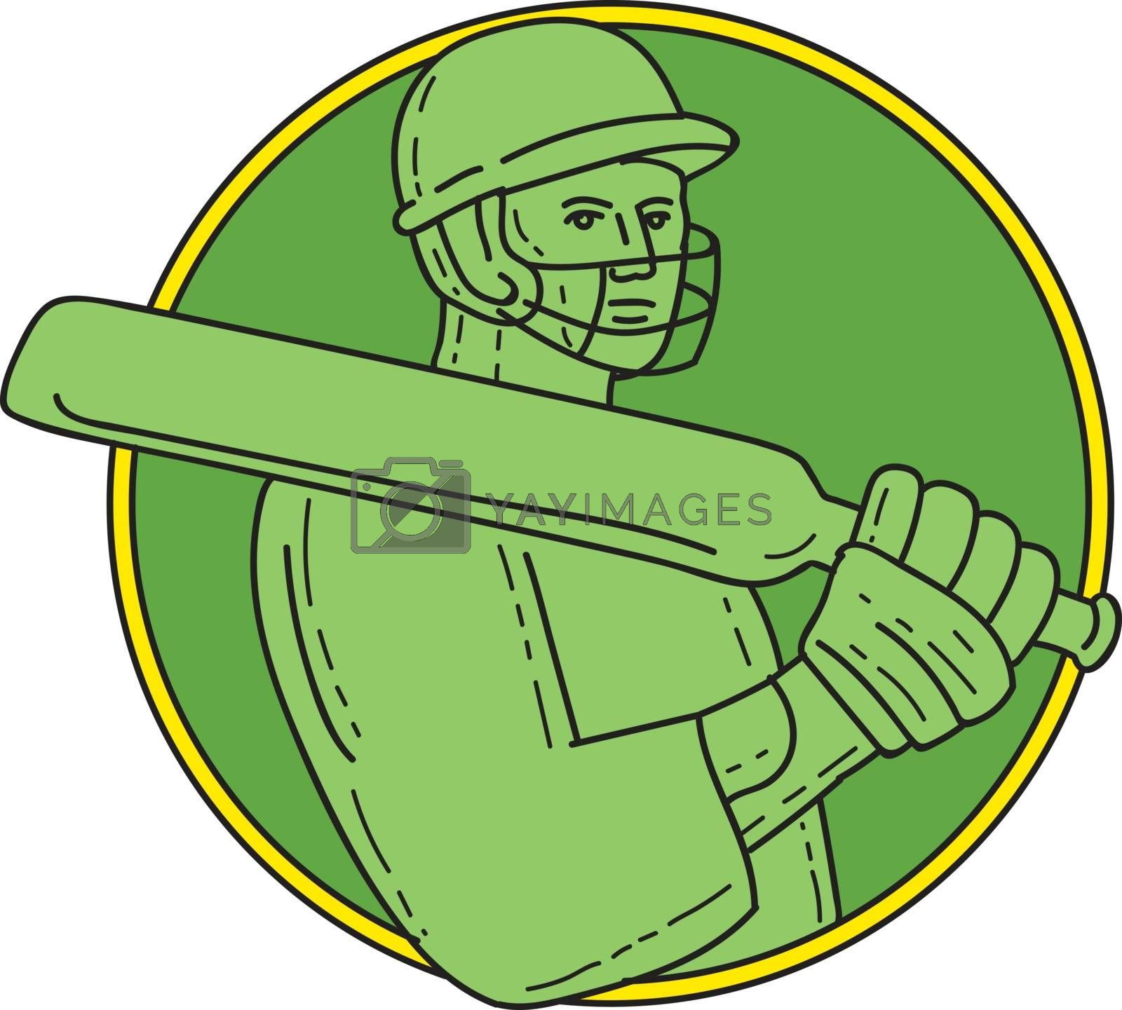 Mono line style illustration of a cricket player batsman wearing helmet holding bat on shoulder viewed from front set inside circle on isolated background.