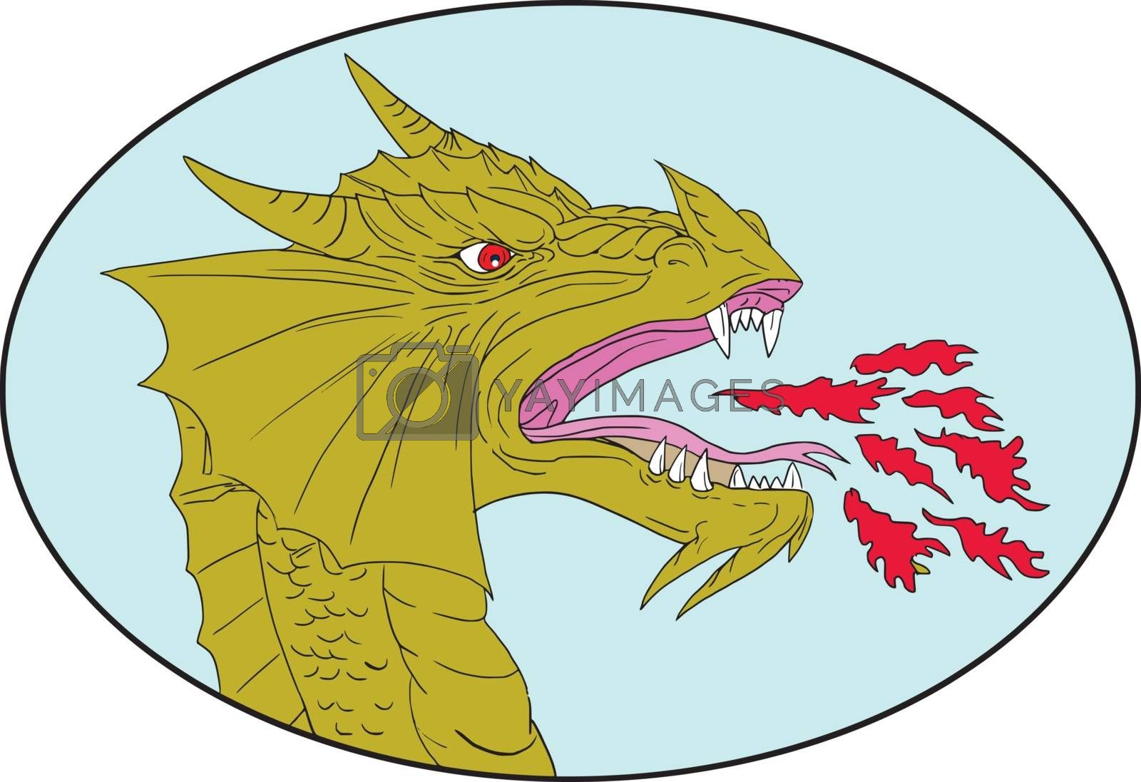 Drawing sketch style illustration of a dragon head breathing fire viewed from the side set inside oval shape on isolated background.