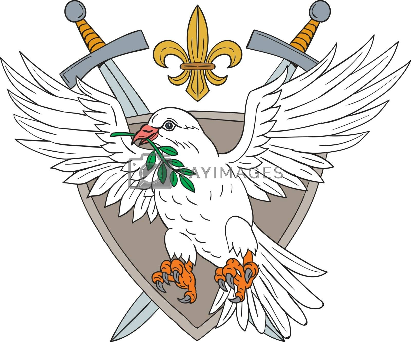 Drawing sketch style illustrarion of a dove with olive leaf in its beak set inside shield with sword and fleur de lis in the background.