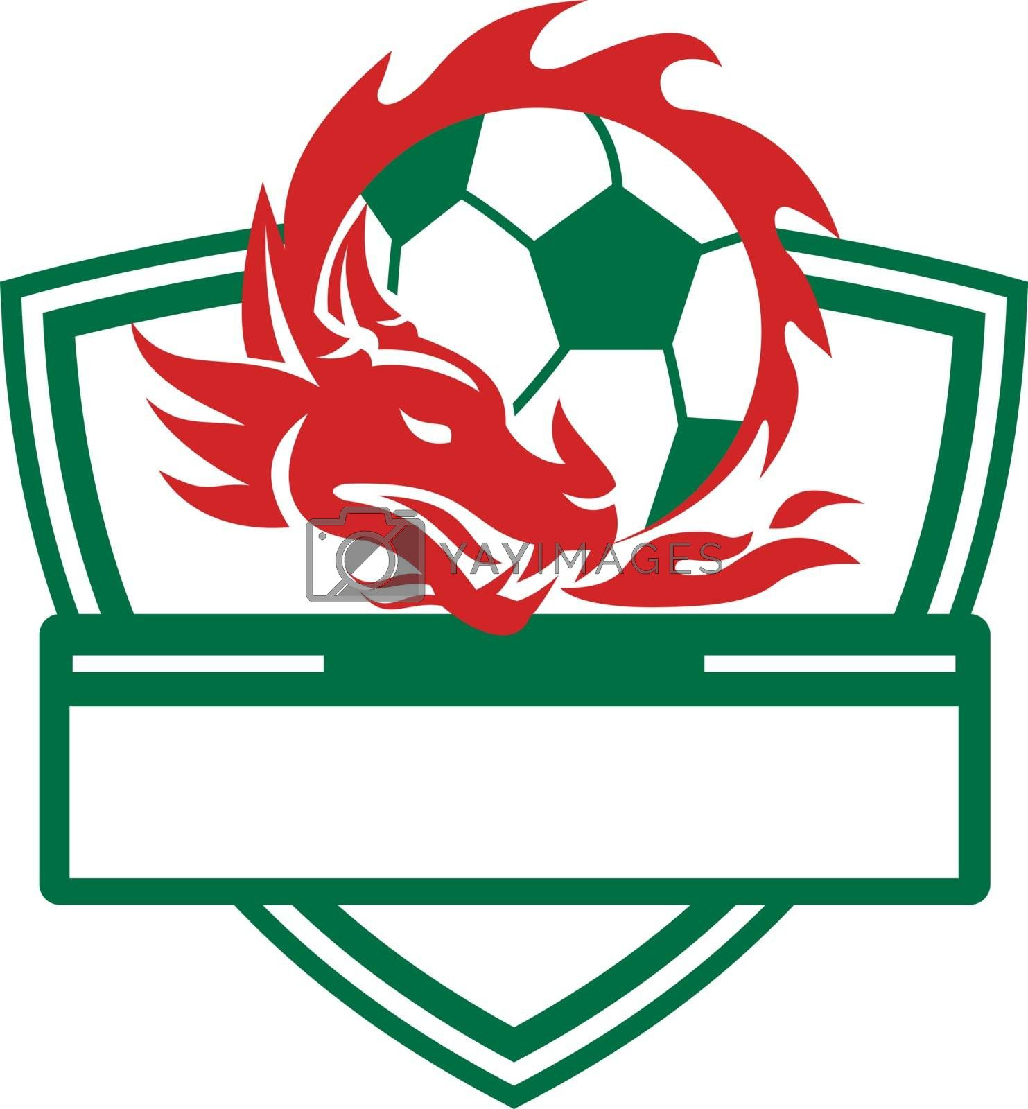 Retro style illustration of a Dragon coling around a Soccer Ball set inside Crest shield on isolated background.