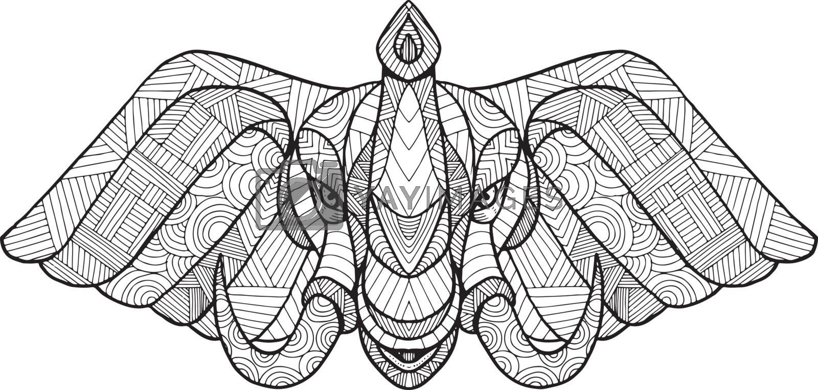 Zentagle inspired and tangled mandala illustration of head of a bull african elephant with tusk viewed from front black and white on isolated backgound.