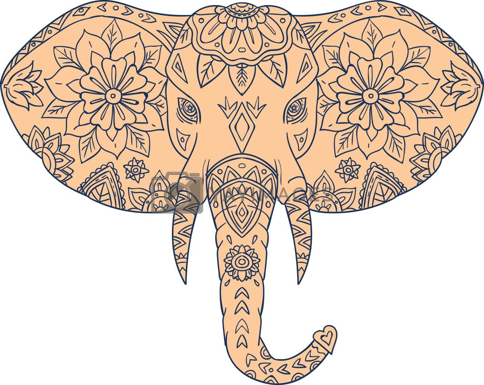 Mandala style illustration of an elephant head viewed from front set on isolated white background.