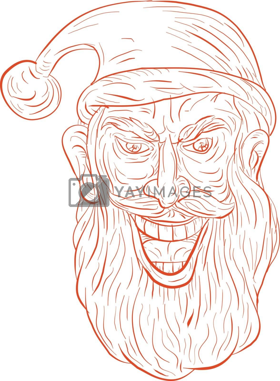 Drawing sketch style illustration of an evil looking, sinister and devilish santa claus with a wide grin viewed from front set on isolated white background/