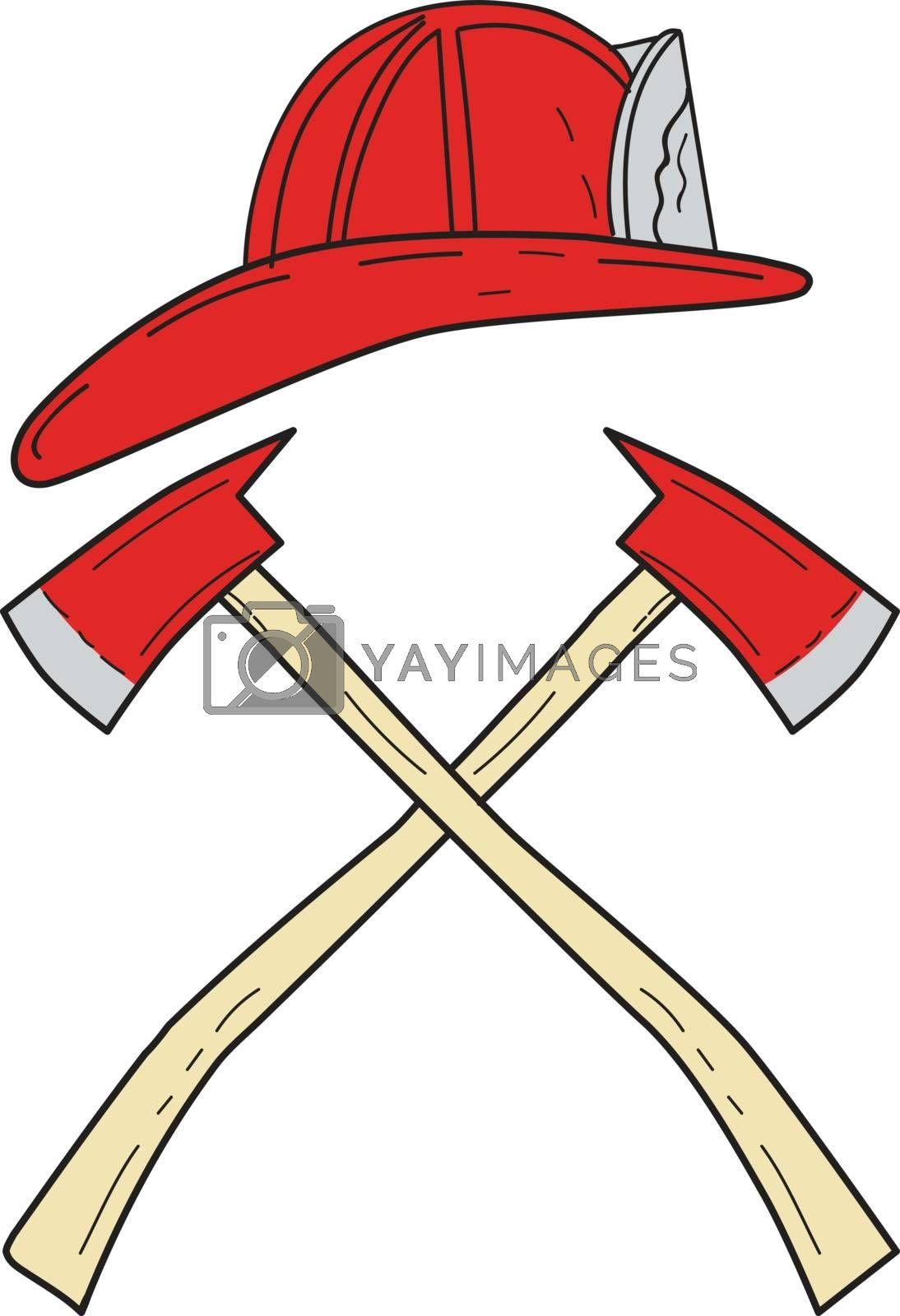 Drawing sketch style illustration of a fireman helmet and two fire axe crossed set on isolated white background.
