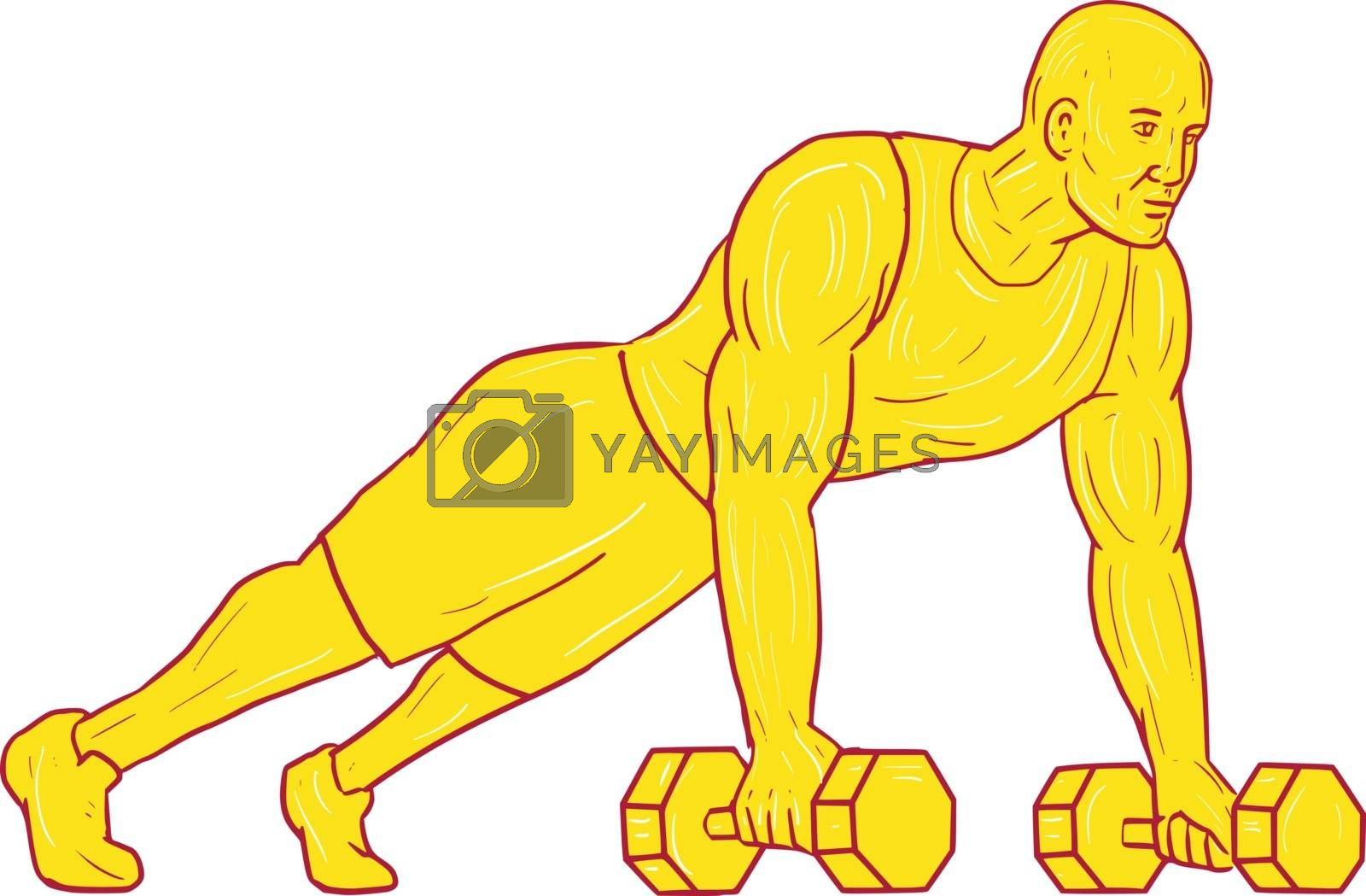 Drawing sketch style illustration of an athlete working out doing push ups with two hands holding dumbbell set on isolated white background.