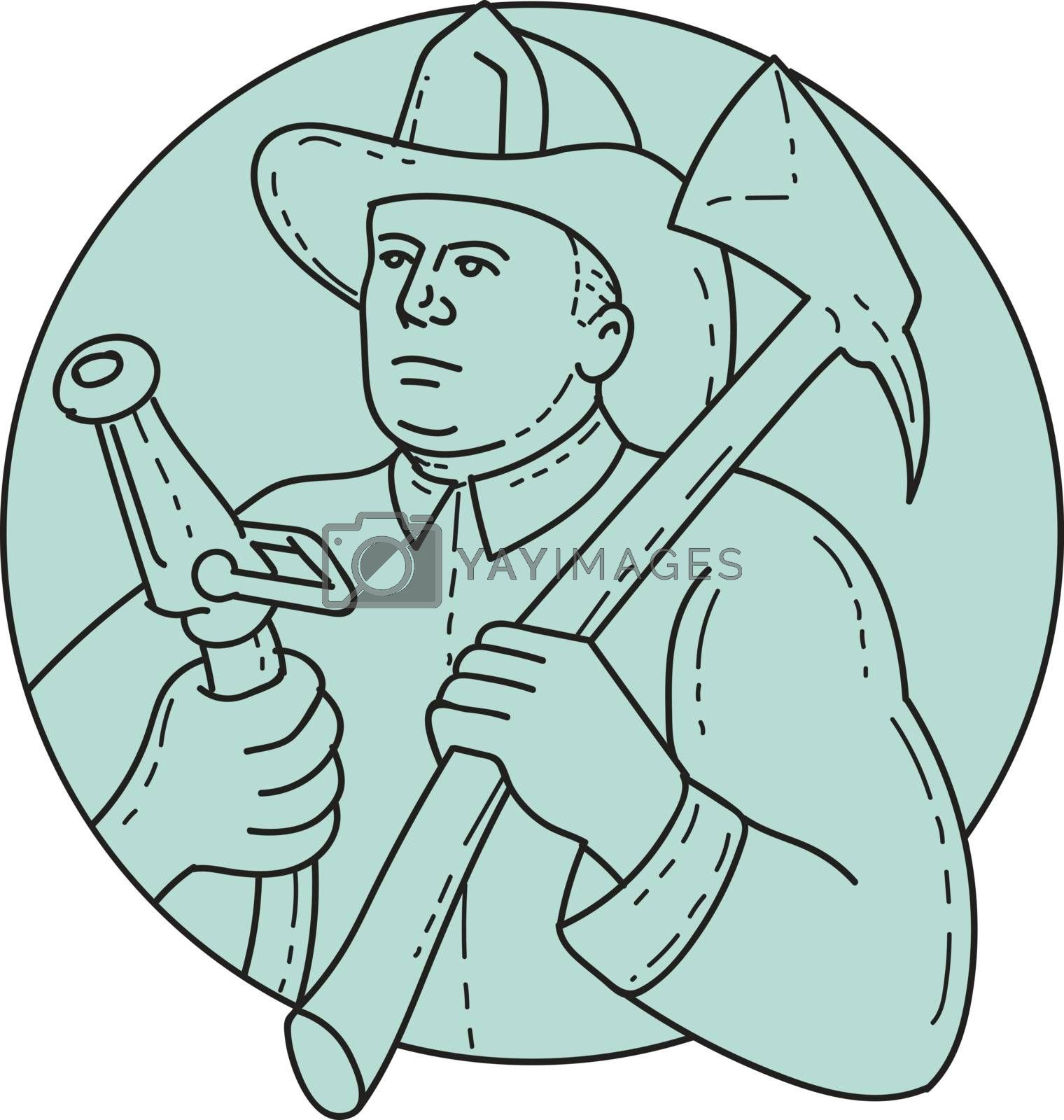 Mono line style illustration of a fireman fire fighter emergency worker looking to the side holding fire hose in one hand and fire axe on the other hand resting on shoulder set inside circle on isolated background.