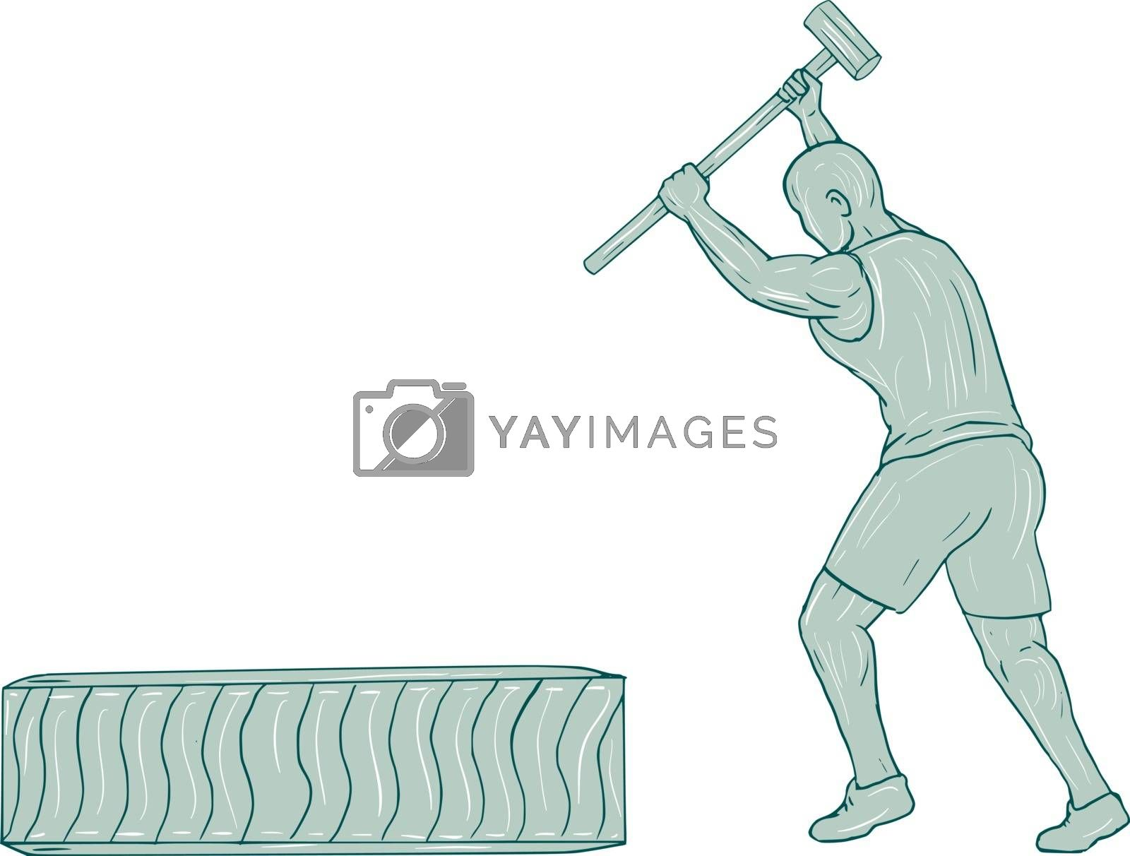Drawing sketch style illustration of an athlete working out holding sledgehammer striking tire viewed from the side set on isolated white background.