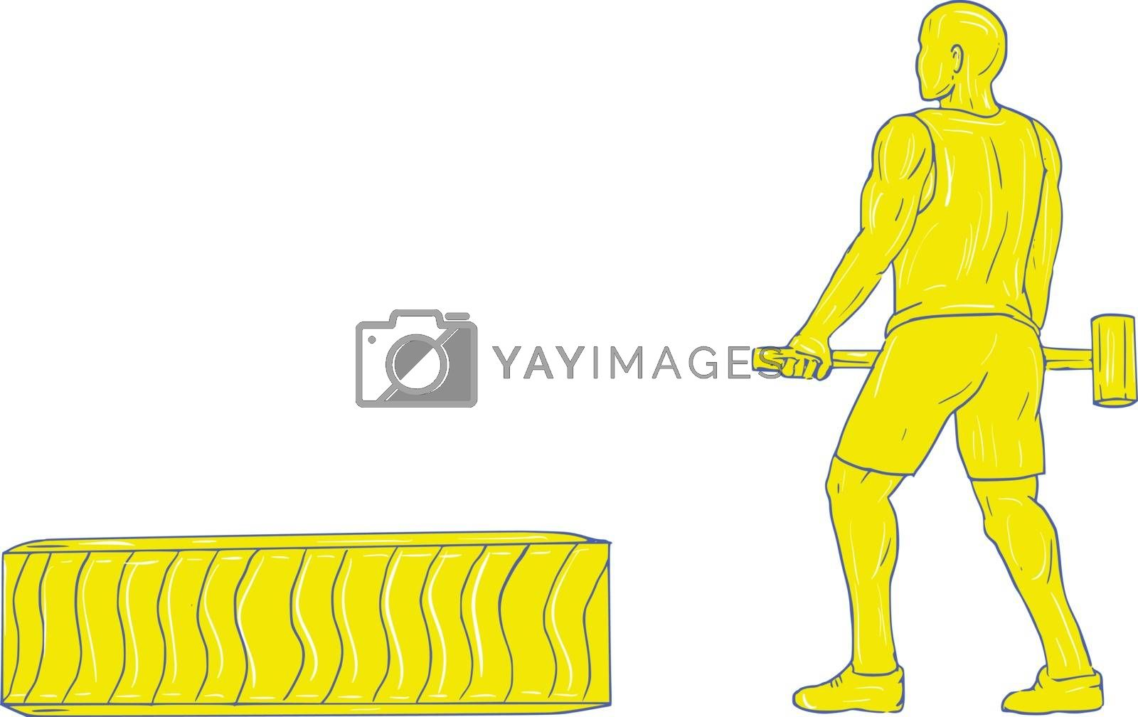 Drawing sketch style illustration of an athlete working out holding hammer with tire viewed from the side set on isolated white background.