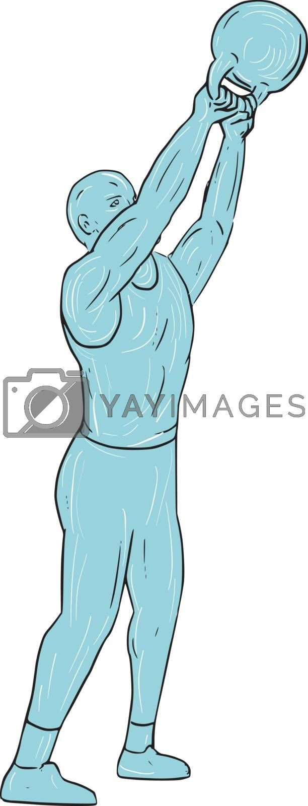 Drawing sketch style illustration of an athlete weightlifter working out looking up lifting swinging kettlebell up with both hands viewed from the side set on isolated white background.