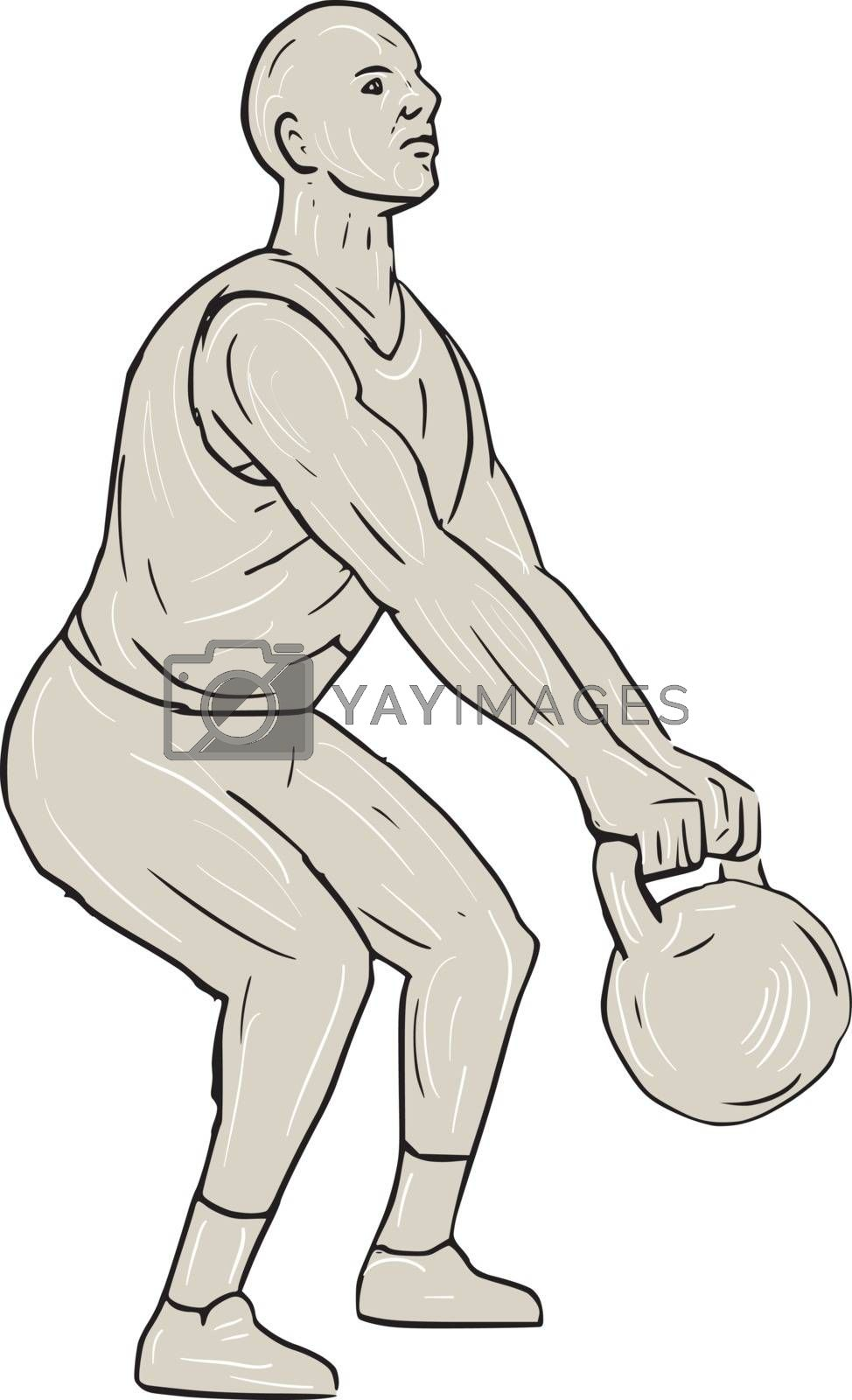 Drawing sketch style illustration of an athlete weightlifter working out squatting lifting swinging kettlebell with both hands viewed from the side set on isolated white background.