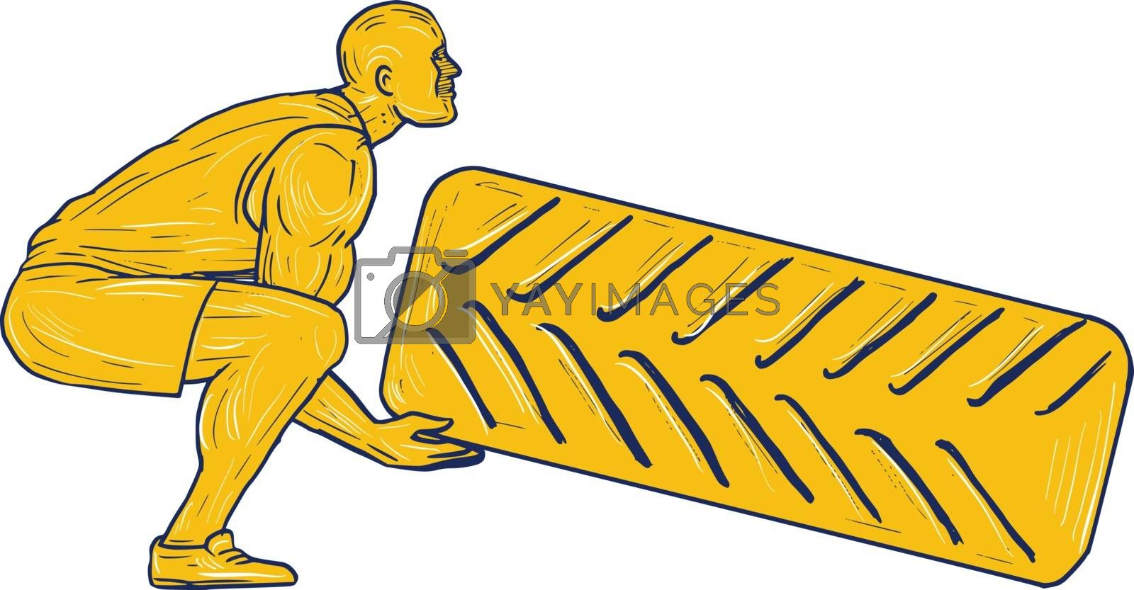 Drawing sketch style illustration of an athlete working out squatting lifting tire viewed from the side set on isolated white background.