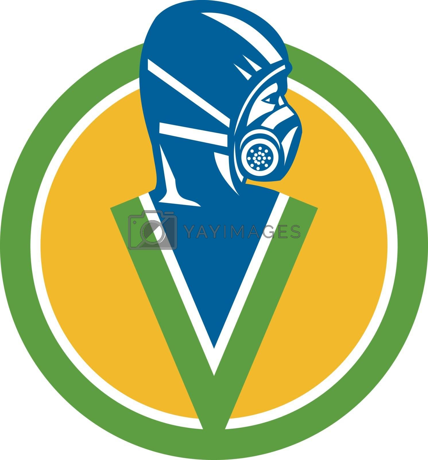Icon style illustration of a Fumigation or Pest Control Service specialist wearing Respirator Face Masks Chemical or Dust Safety Face Masks viewed from side set inside circle.