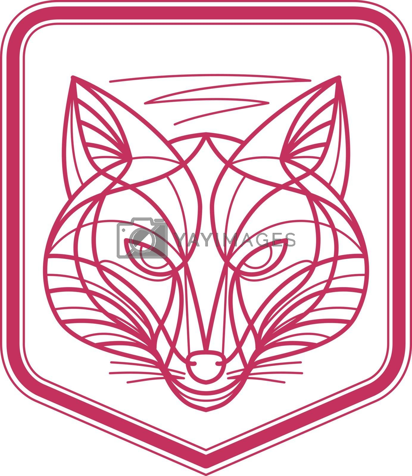 Mono line illustration of a Fox Head viewed from front set inside shield Crest on isolated background.