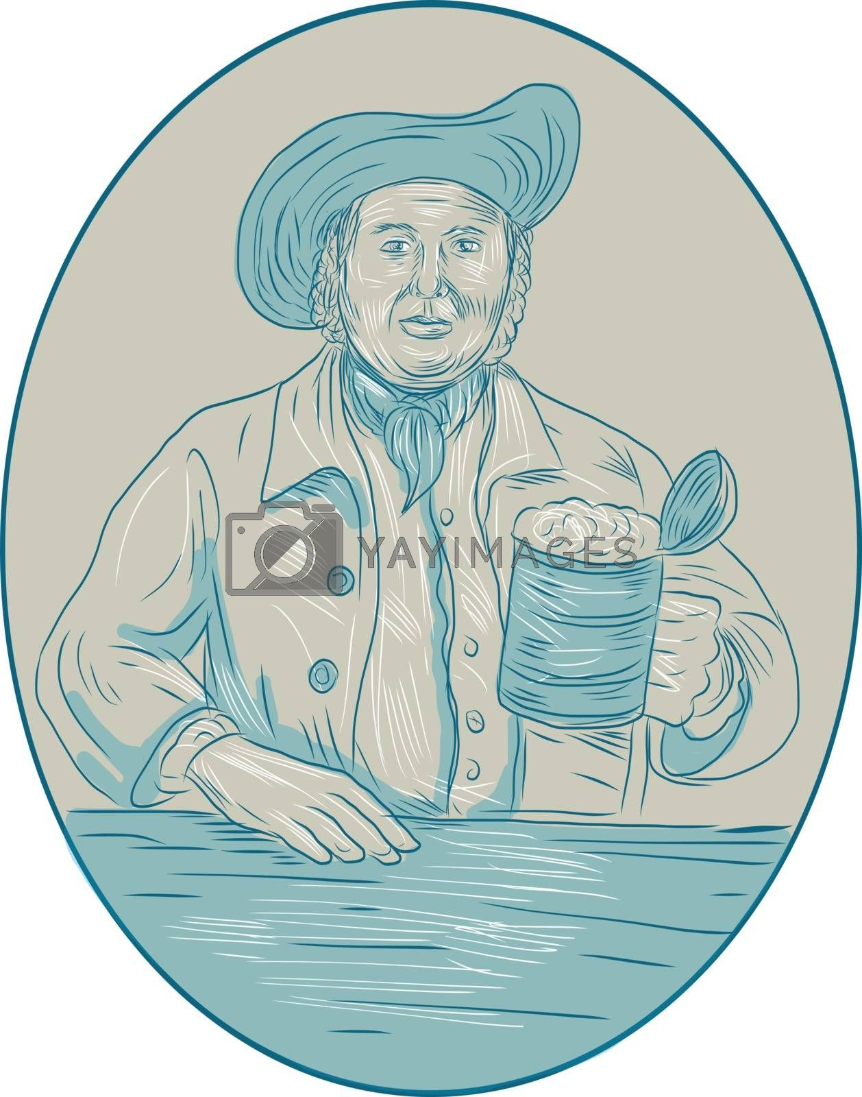 Drawing sketch style illustration of a medieval gentleman beer drinker holding tankard set inside oval shape viewed from front.