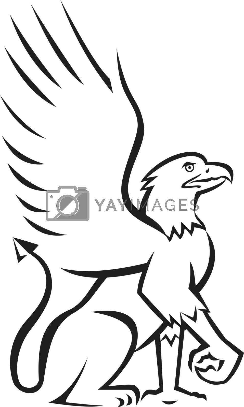 Illustration of a griffin, griffon, or gryphon sitting down viewed from the side set on isolated white background done in retro style.