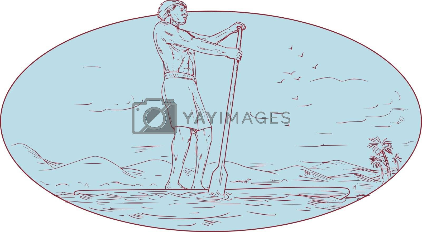 Drawing sketch style illustration of a guy on a stand up paddle board paddle boarding holding paddling oar with tropical island in the background done set inside oval shape.