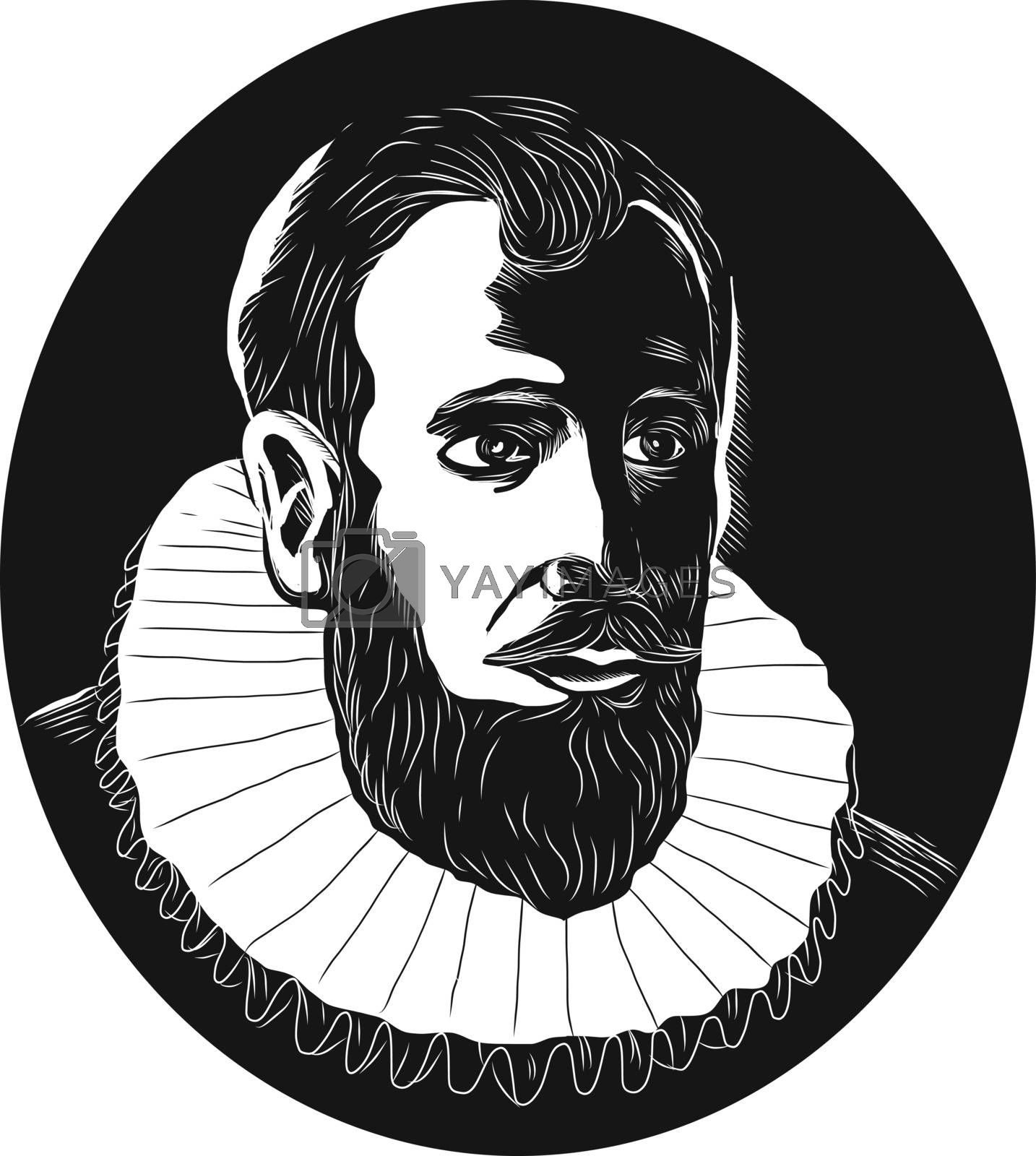 Illustration of Henry Hudson, English sea explorer and navigator in the 17th century who explored the Hudson River viewed from front set inside oval shape done in retro woodcut style.