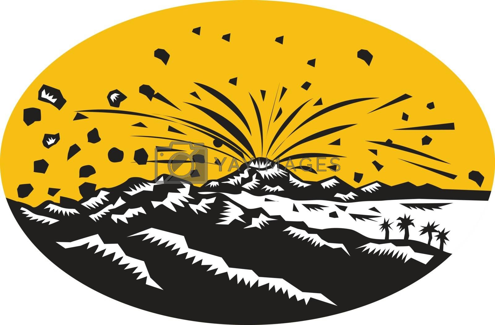 Illustration of a volcano erupting volcanic eruption resulting to island formation set inside oval shape done in woodcut style.