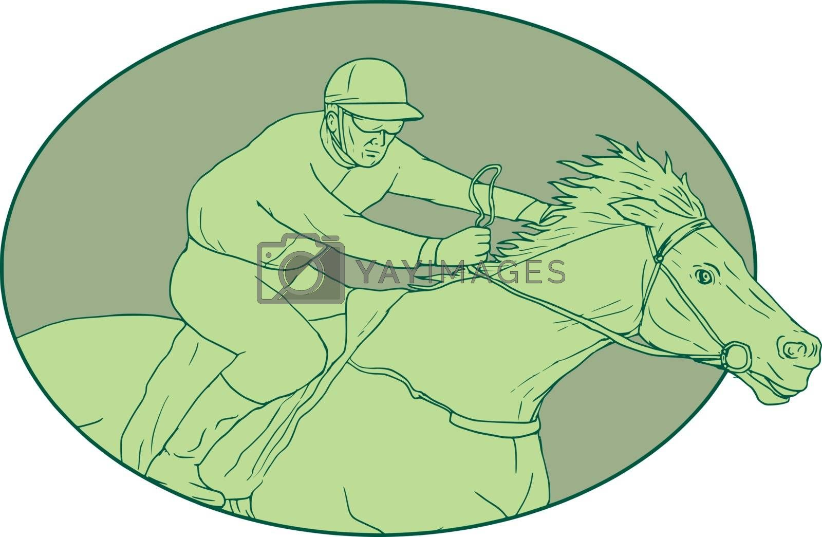 Drawing sketch style illustration of jockey riding a horse racing viewed from the side set inside oval shape on isolated background.
