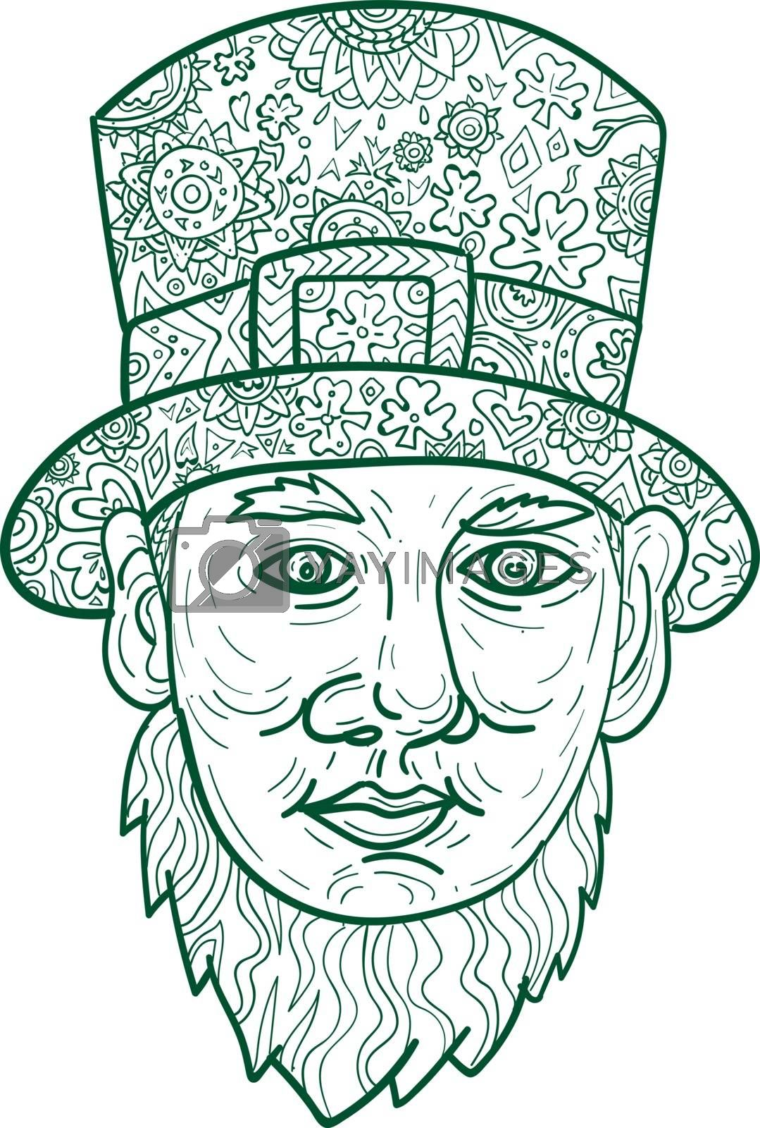 Mandala style illustration of a head of a leprechaun, a type of fairy in Irish folklore, with beard and a top hat viewed from front set on isolated white background.