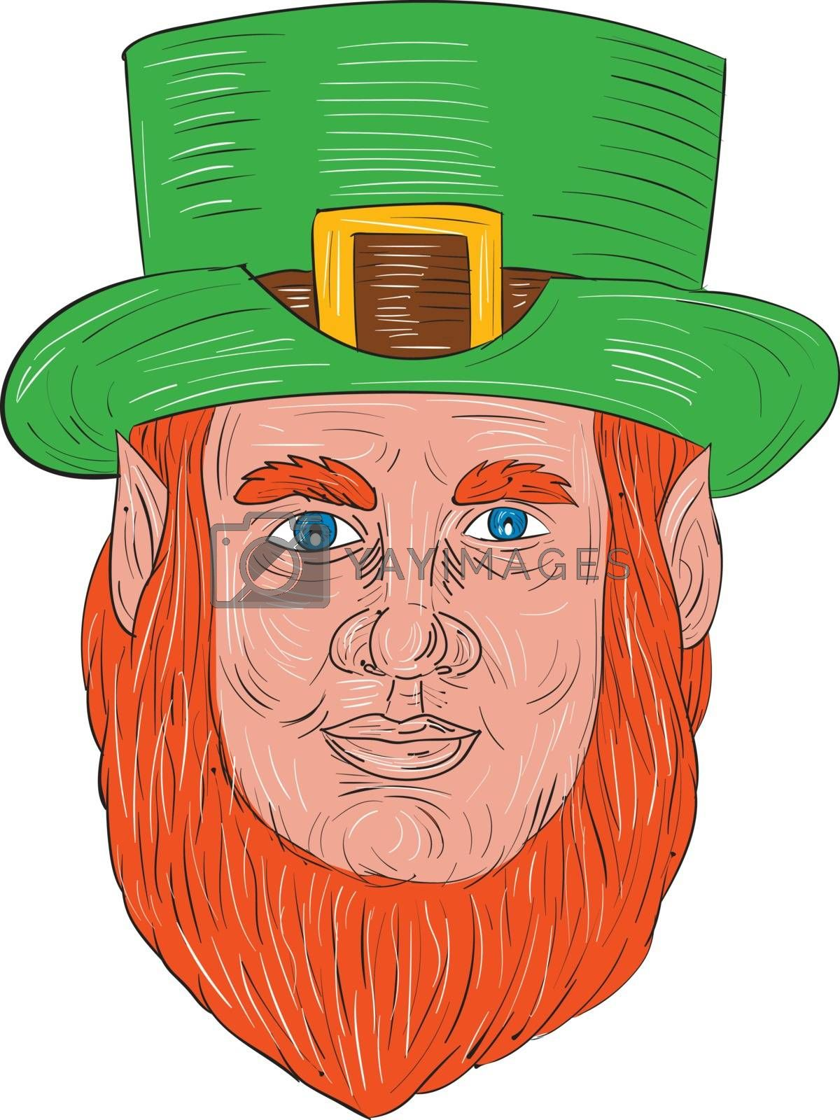 Drawing sketch style illustration of a leprechaun head viewed from front set on isolated white background.