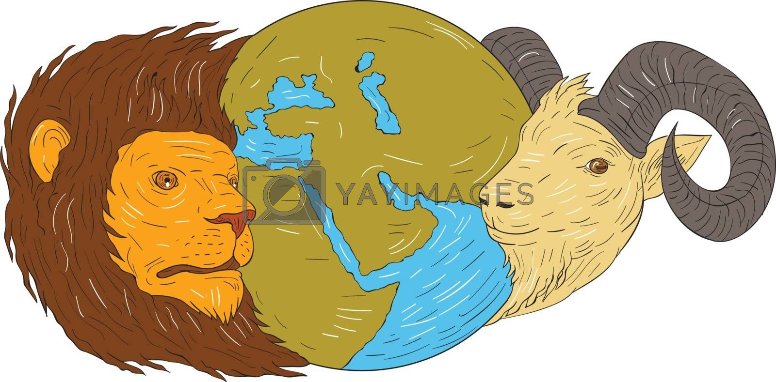 Drawing sketch style illustration of a map globe showing europe, middle east and africa  in between the heads of a lion and goat set on isolated white background.