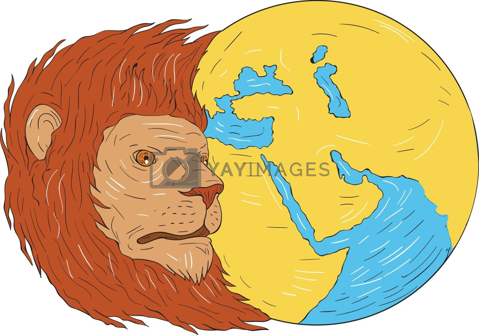Drawing sketch style illustration of a lion head with flowing mane looking to the side with middle east and asia map globe set on isolated white background.