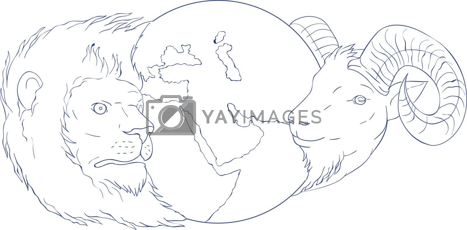 Drawing sketch style illustration of a lion and a ram head with globe showing middle east in the middle set on isolated white background.