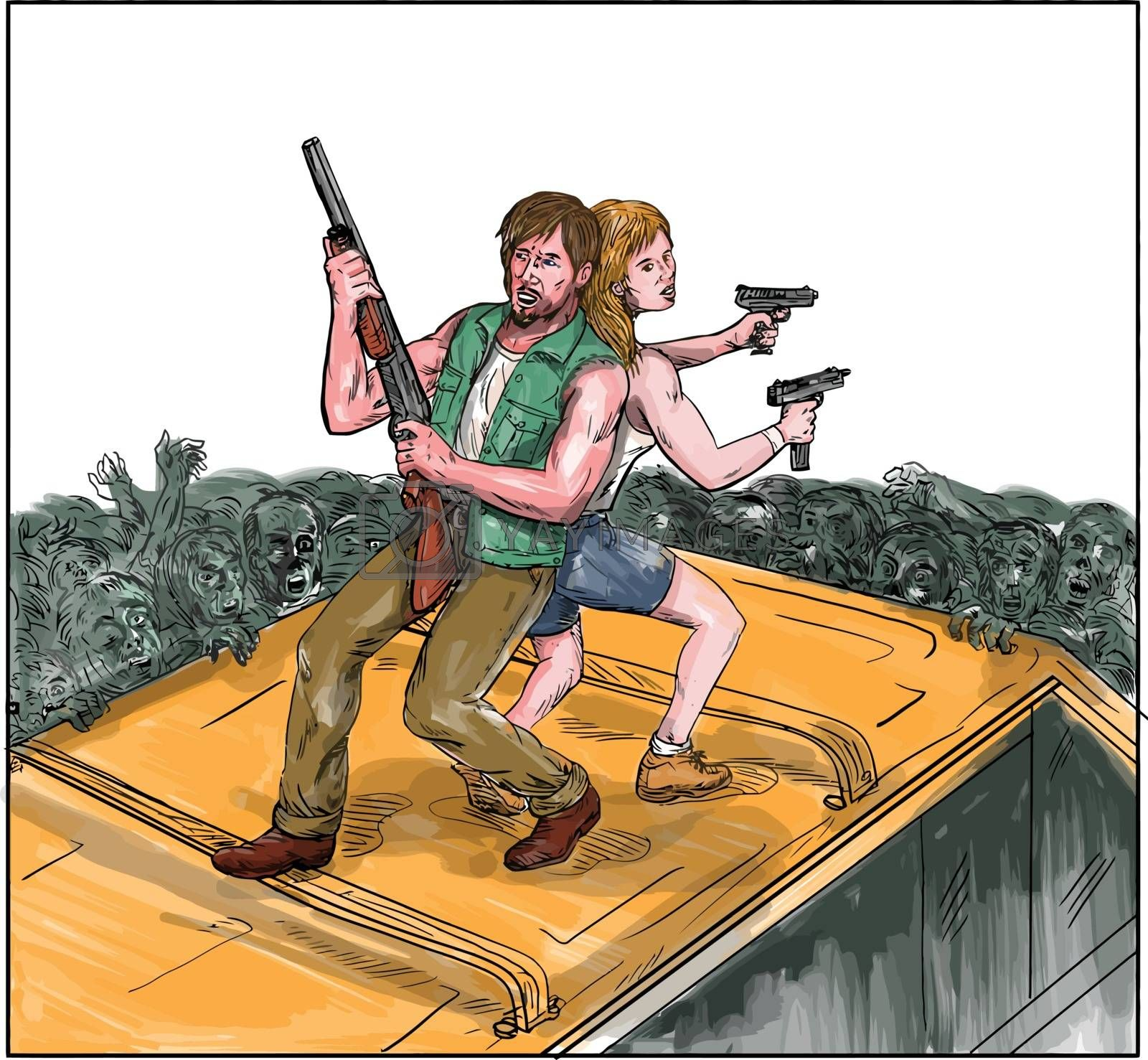 Watercolor style illustration of a man and woman on top of a van with back against each other holding gun rifle fighting zombies.