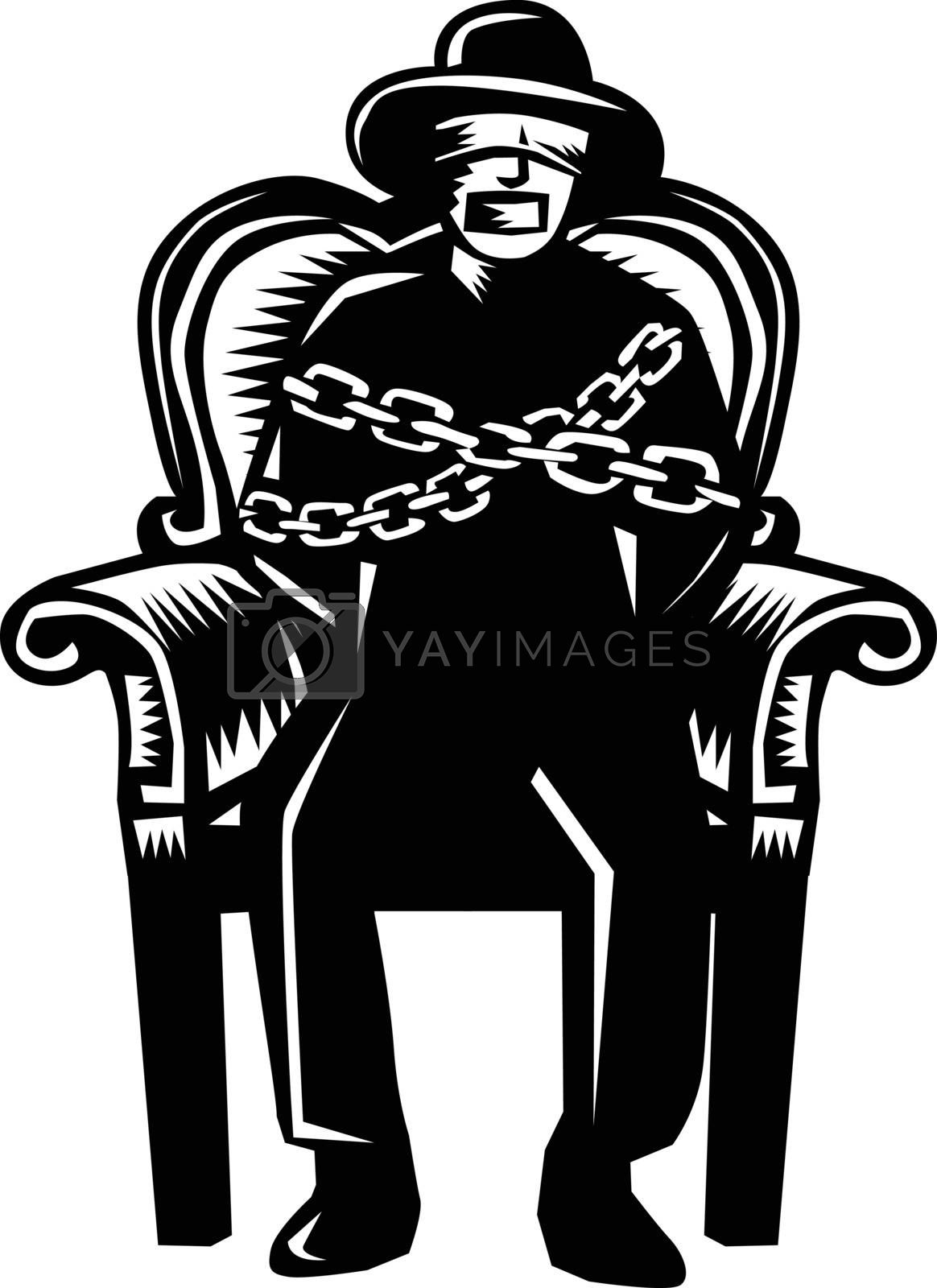 Illustration of a man in hat blindfolded and gagged and duct tape over mouth and bound in chains sitting on grand arm chair viewed from front set on isolated white background.