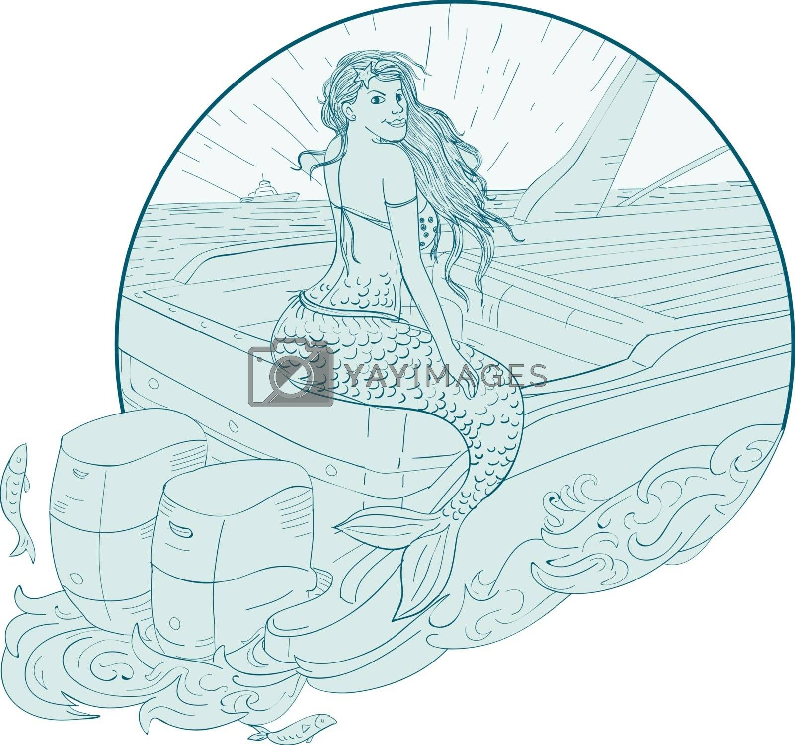 Drawing sketch style illustration of a Mermaid siren Sitting on Boat transom set inside circle on isolated background.