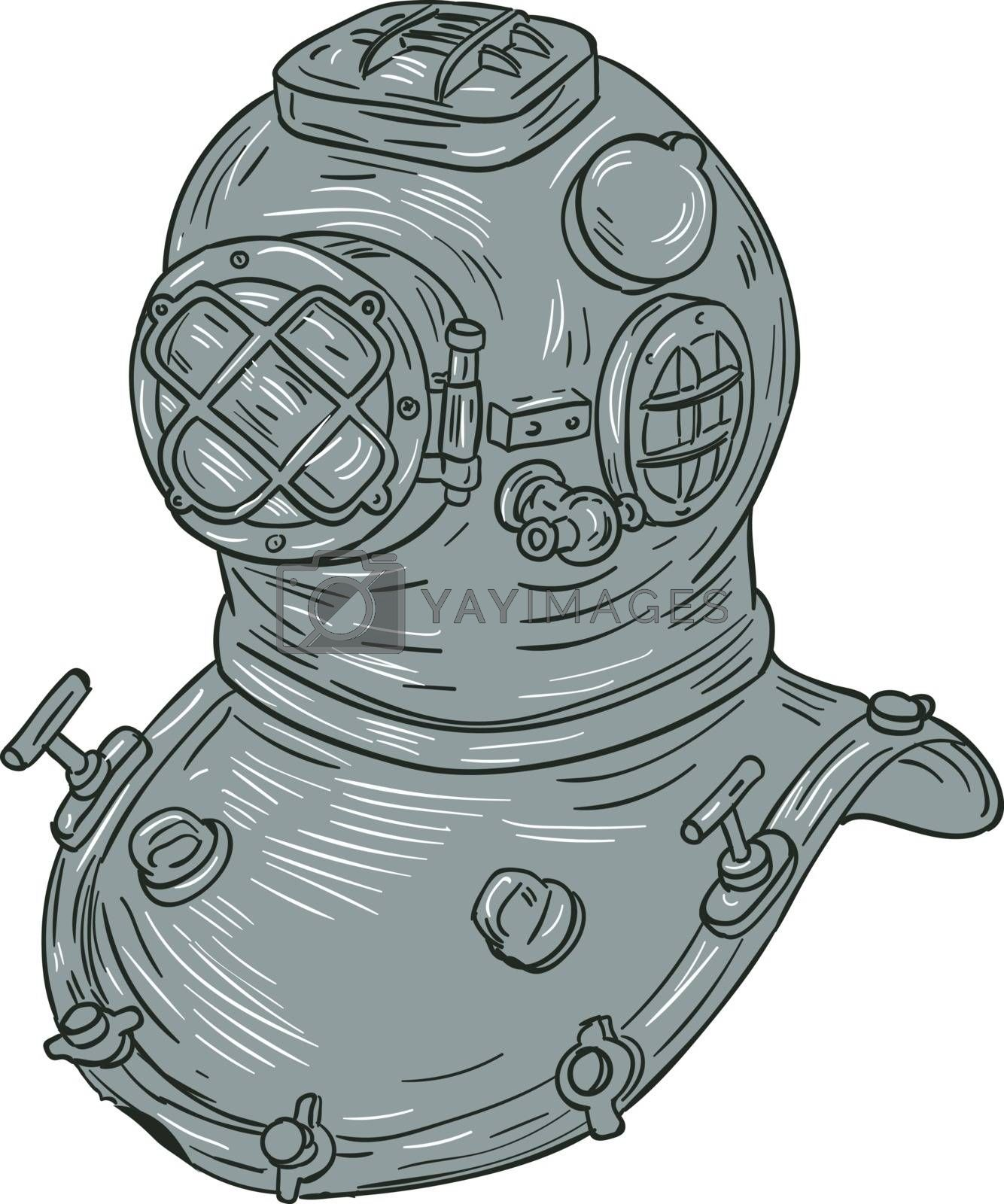 Drawing sketch style illustration of a copper and brass old school deep sea dive diving helmet or Standard diving helmet (Copper hat), worn mainly by professional divers engaged in surface supplied diving set on isolated white background.