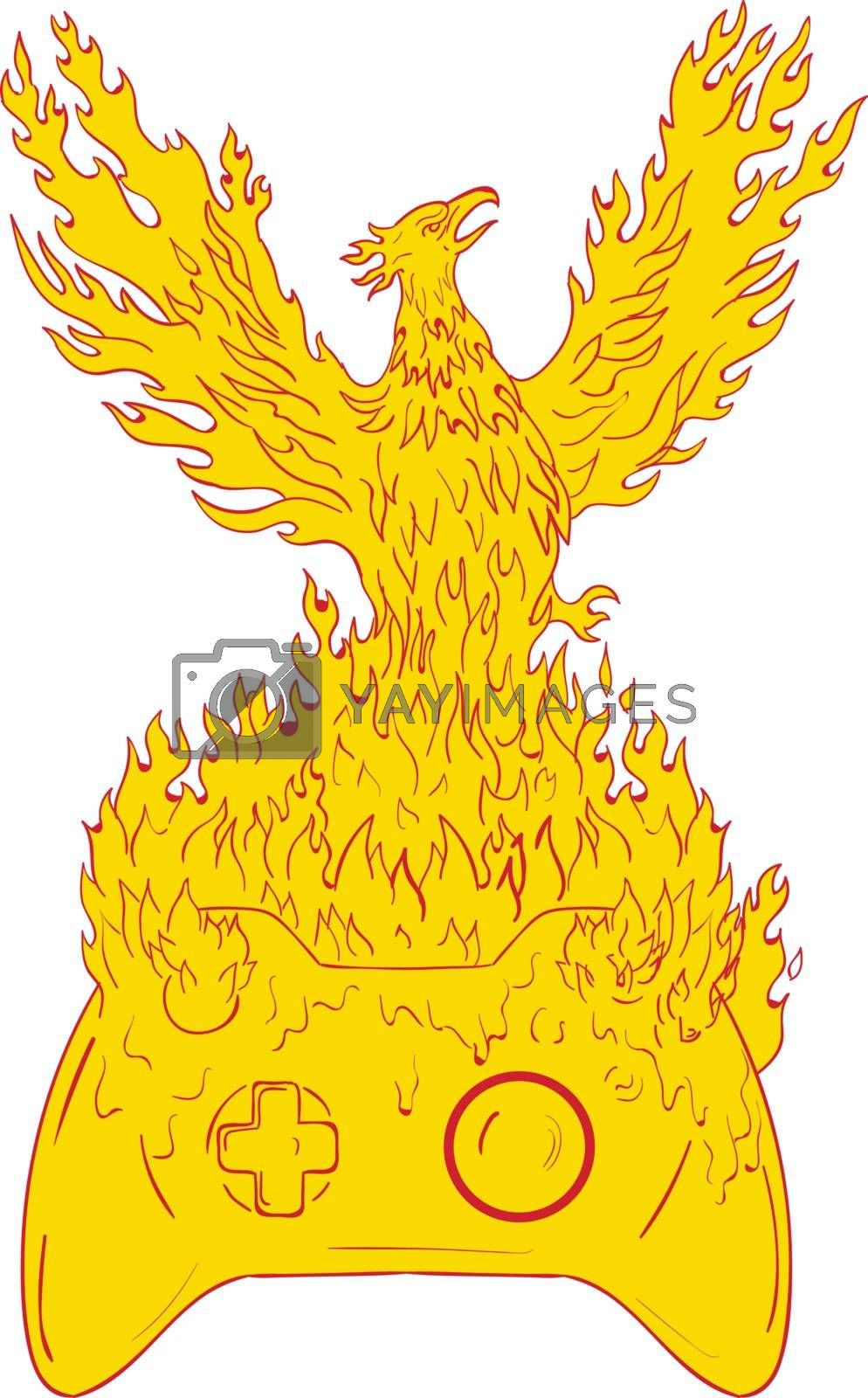 Drawing sketch style illustration of a phoenix looking to the side rising up from fiery flames, wings raised for flight over game controller set on isolated white background.
