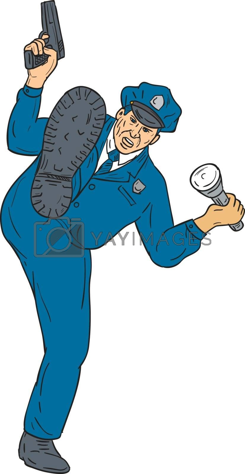 Drawing sketch style illustration of a policeman police officer holding gun in one hand and torch flashlight on the other hand kicking facing front  set on isolated white background.