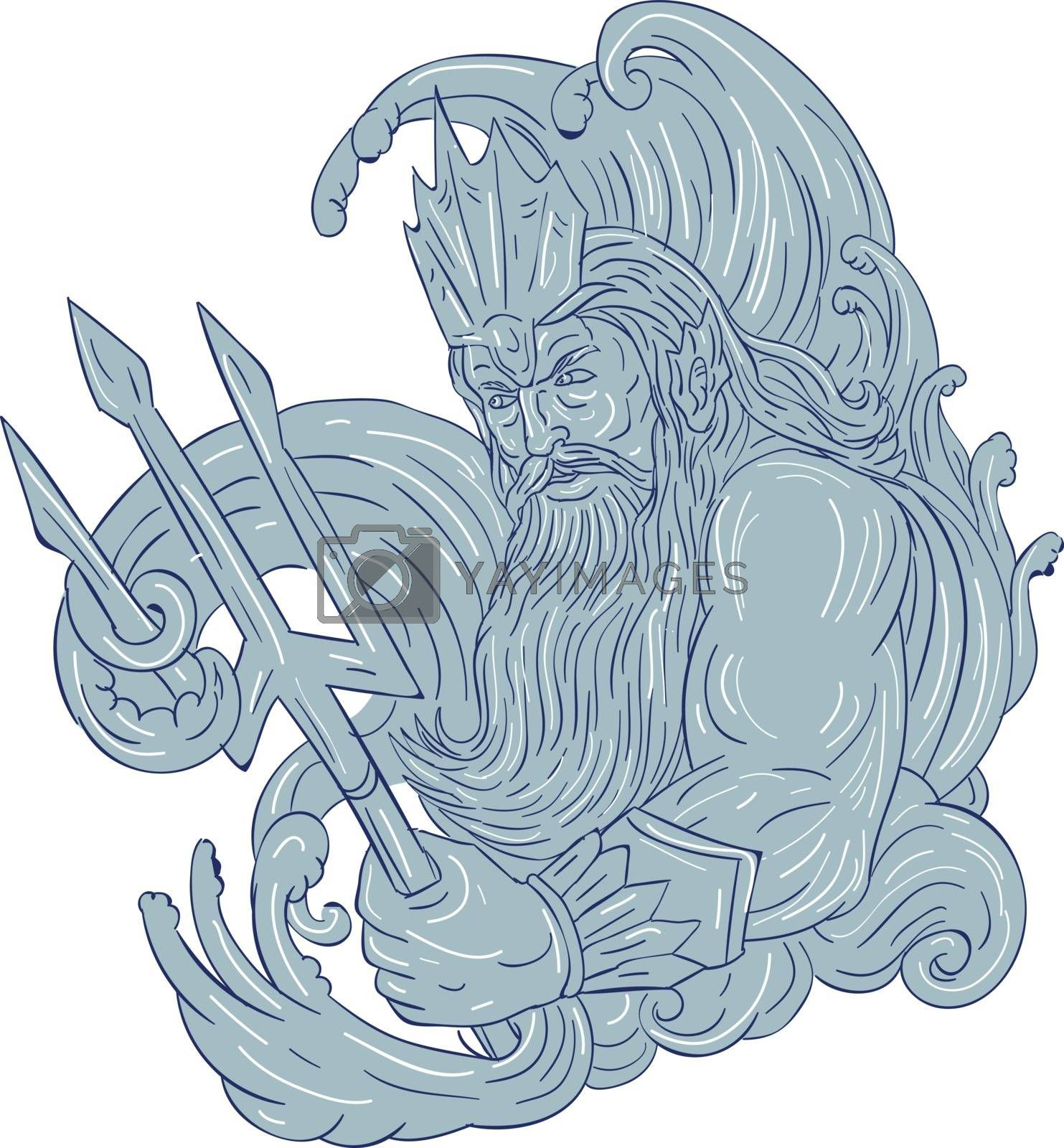 Drawing sketch style illustration of a poseidon god of the sea holding trident surrounded by waves viewed from the side set on isolated white background.
