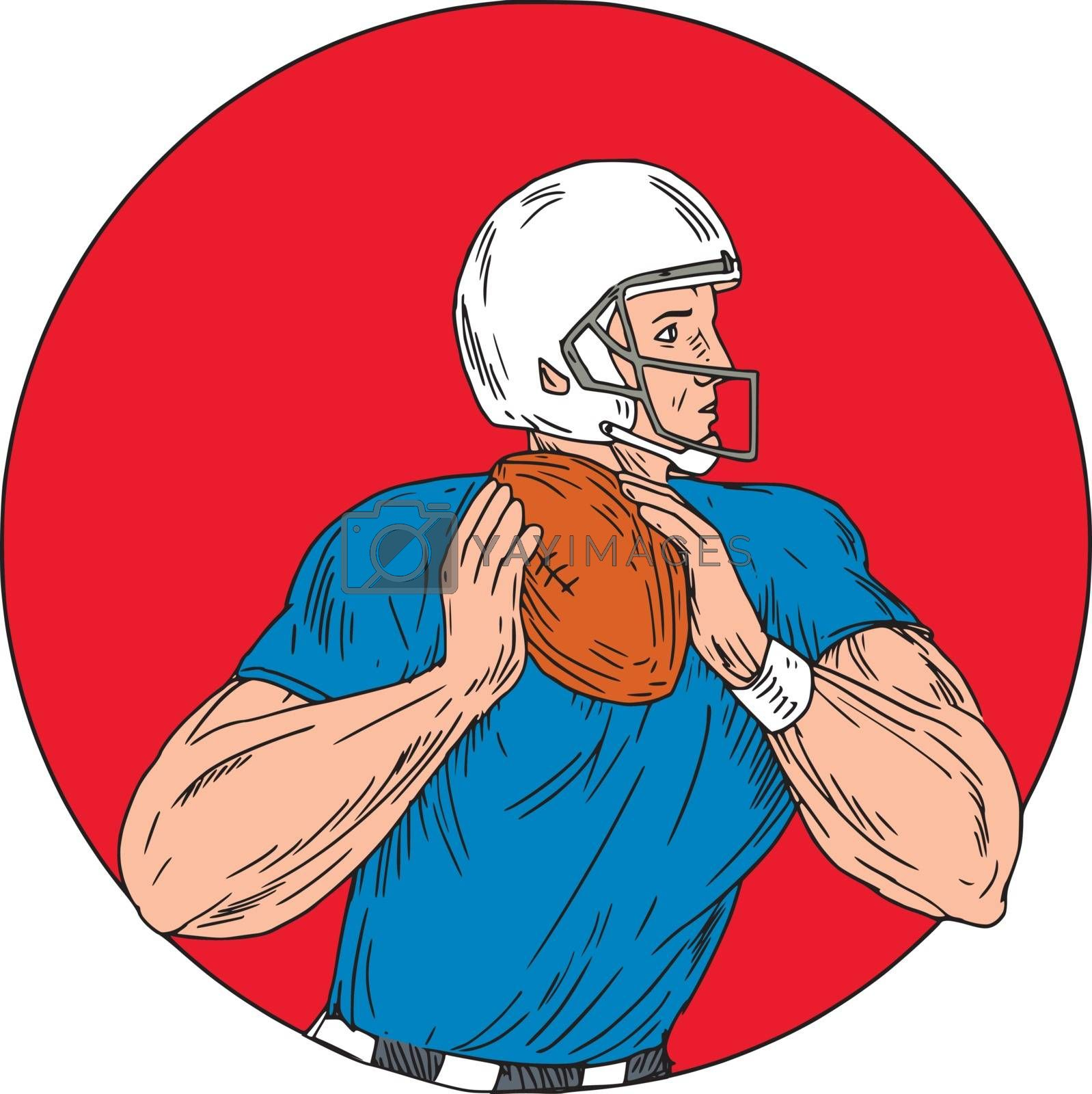 Drawing sketch style illustration of an american football gridiron quarterback player holding ball ready to throw ball viewed from the side set inside circle on isolated background.
