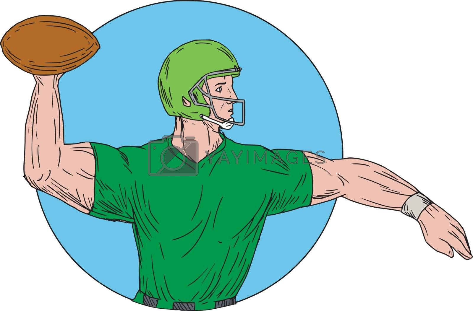 Drawing sketch style illustration of an american football gridiron quarterback player arms stretched throwing ball viewed from the side set inside circle on isolated background.