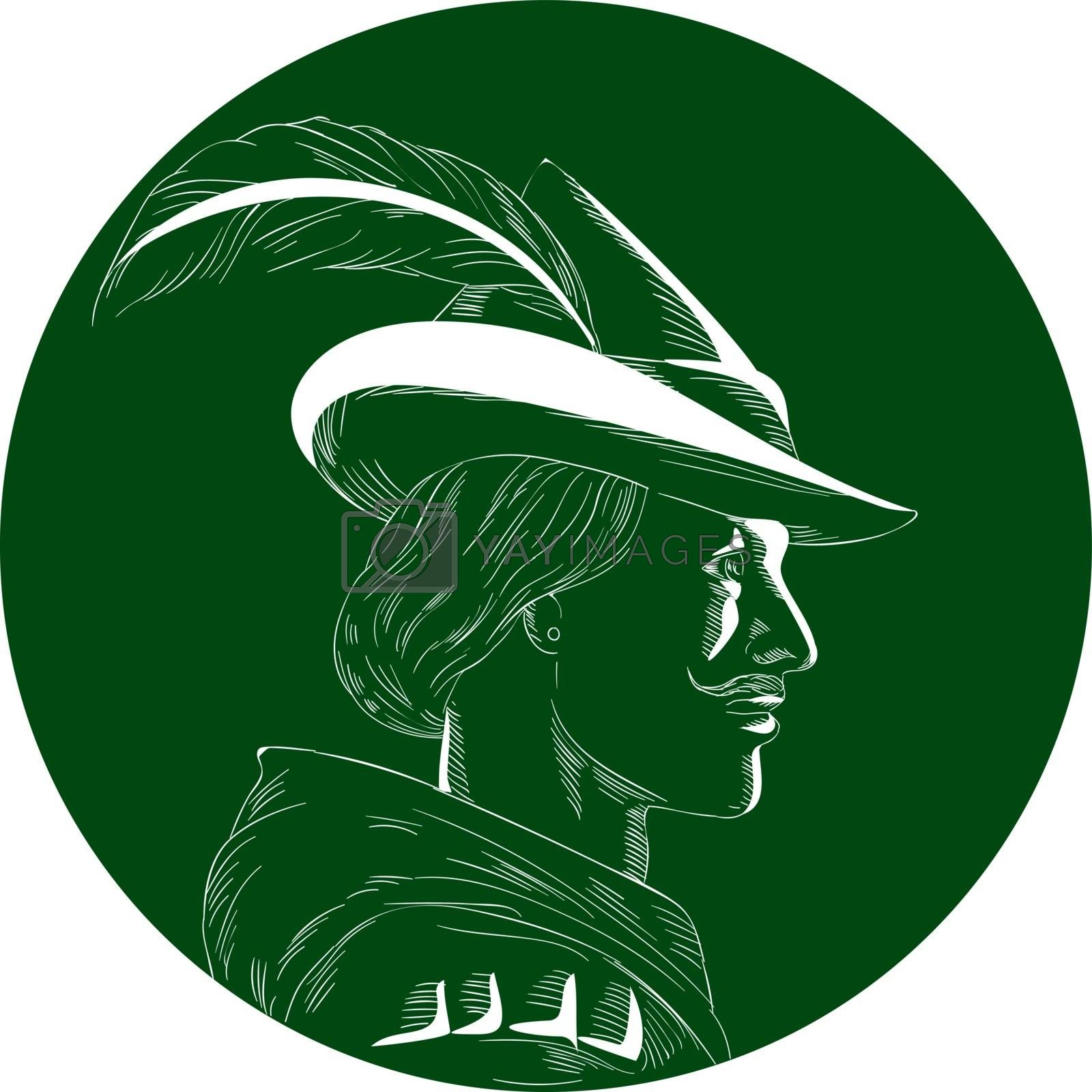 Illustration of a Robin Hood wearing medieval hat with a pointed brim and feather viewed from side set inside circle done in retro woodcut style.