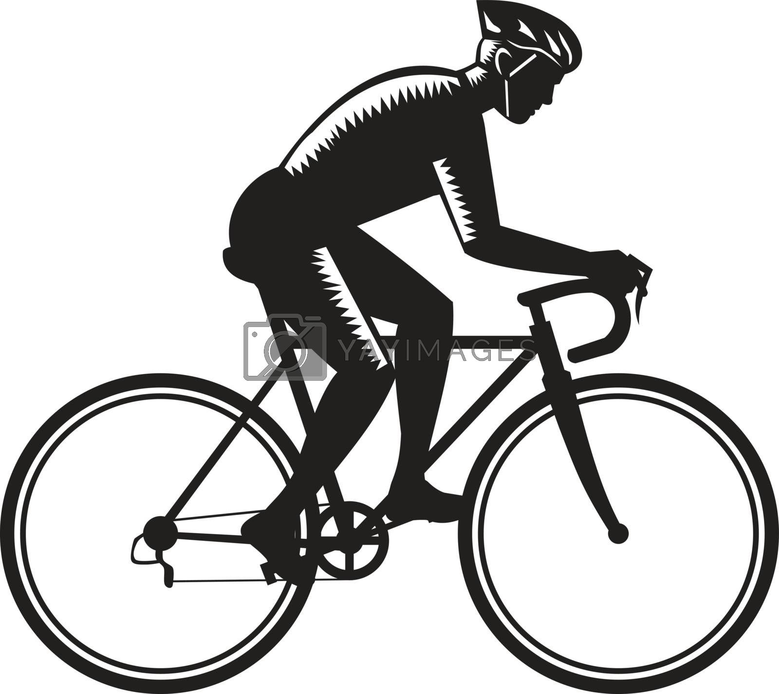 Illustration of road cyclist wearing helmet riding bicycle cycling biking racing viewed from the side set on isolated white background done in retro woodcut style.