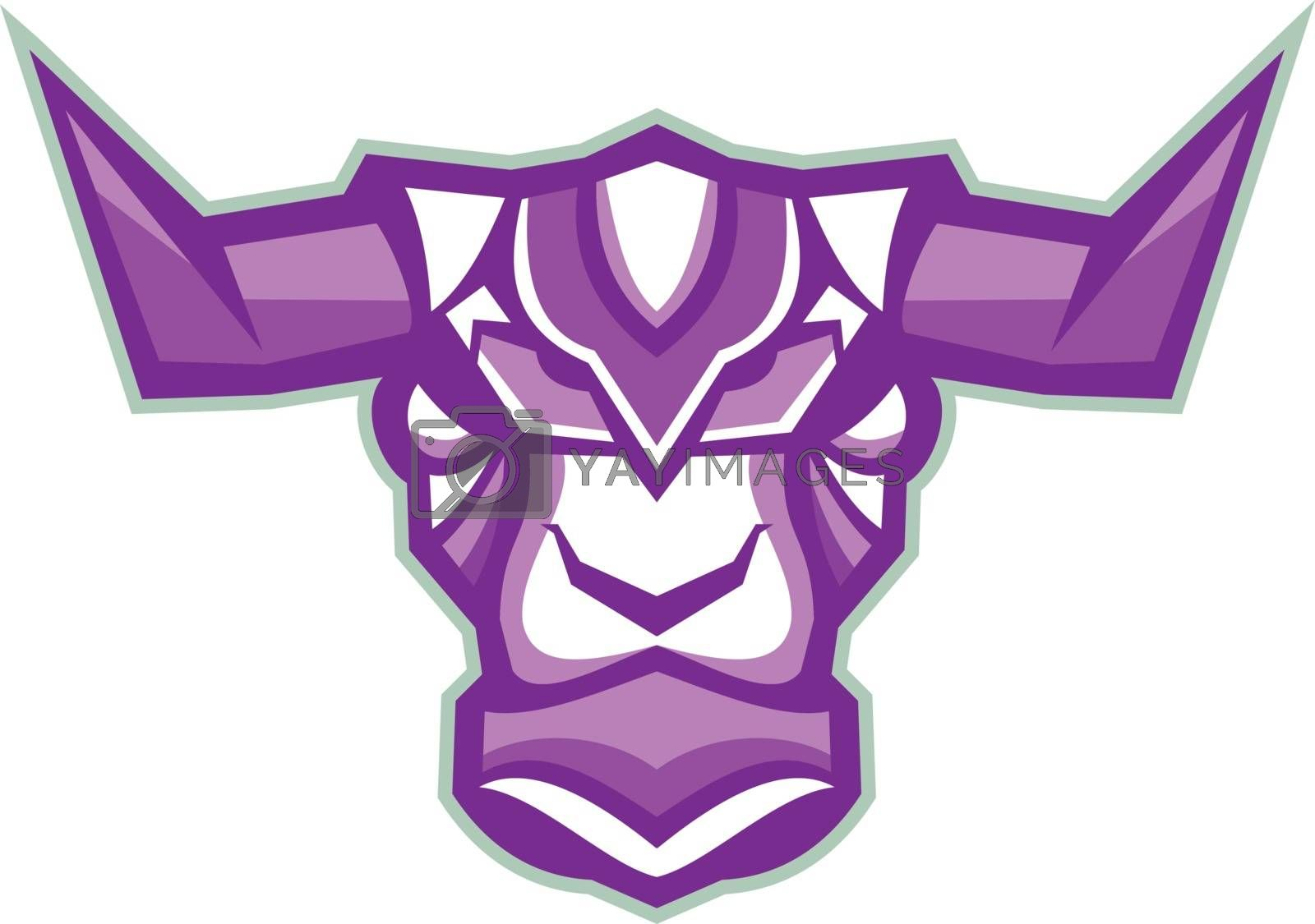 Illustration of a Robot looking Yak bull Head viewed from Front on isolated background.