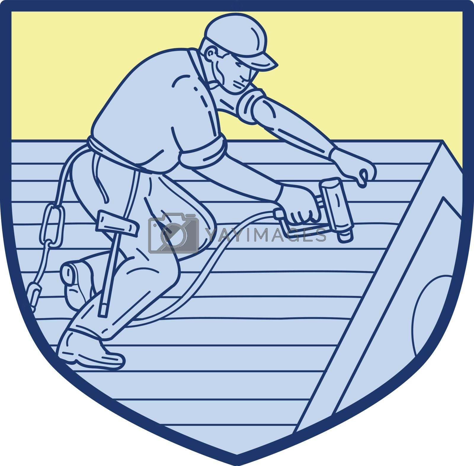 Mono line style illustration of a roofer construction worker wearing hat working on roof with hand drill viewed from the side set inside shield crest.
