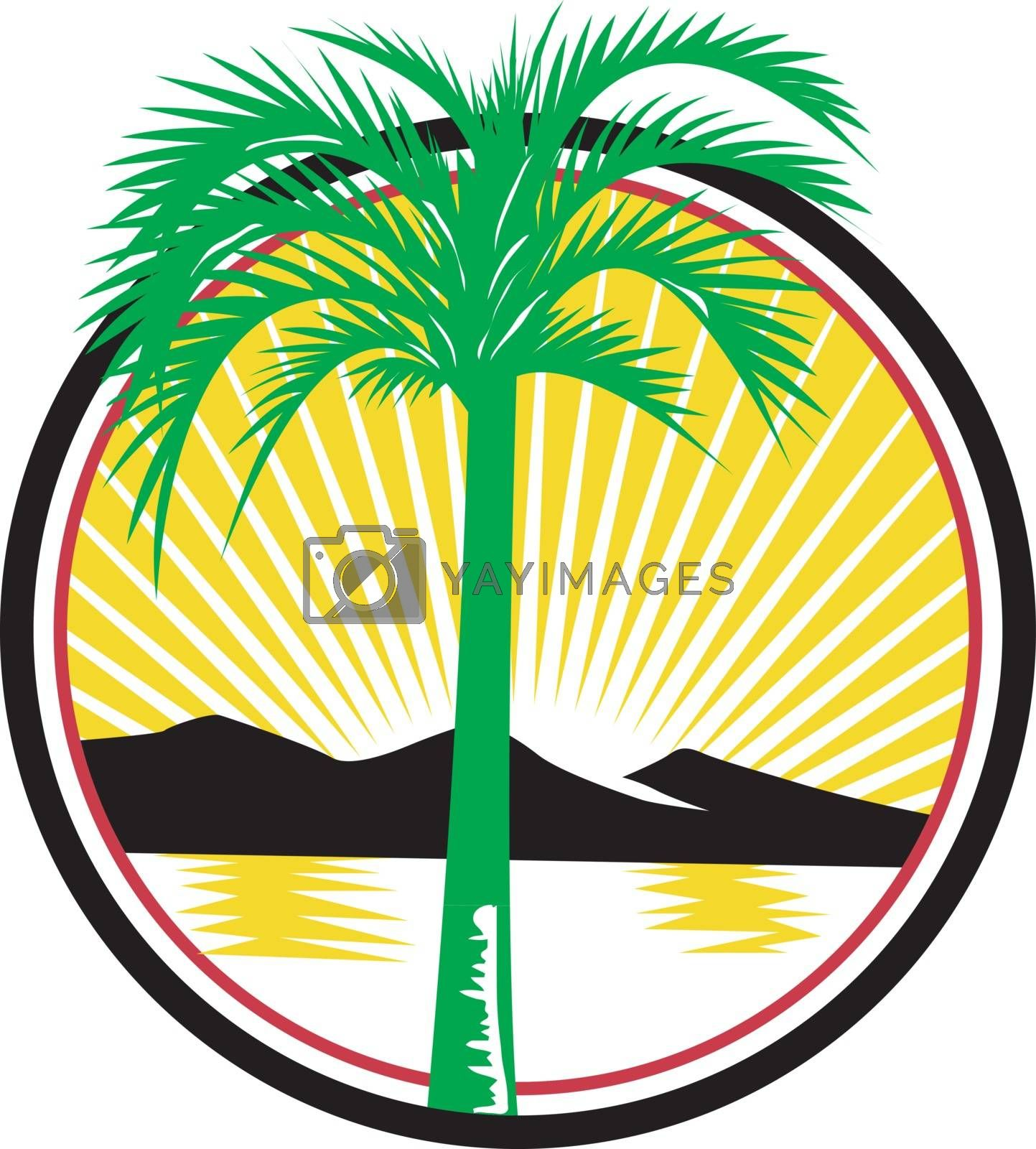 Retro style illustration of a royal palm tree with beach, sea or ocean and mountain in background set inside circle with sunburst on isolated background.
