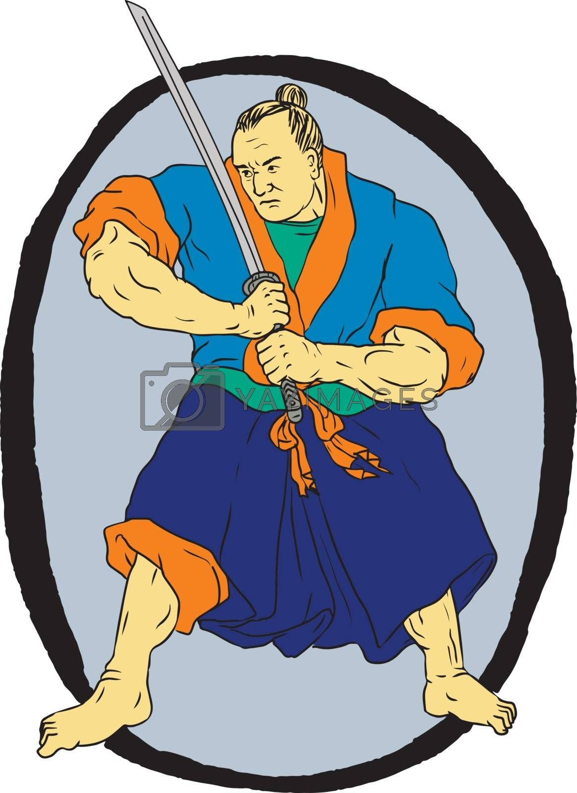 Drawing sketch style illustration of a Samurai Warrior wielding Katana sword in fighting stance set inside Enso circle on isolated background.